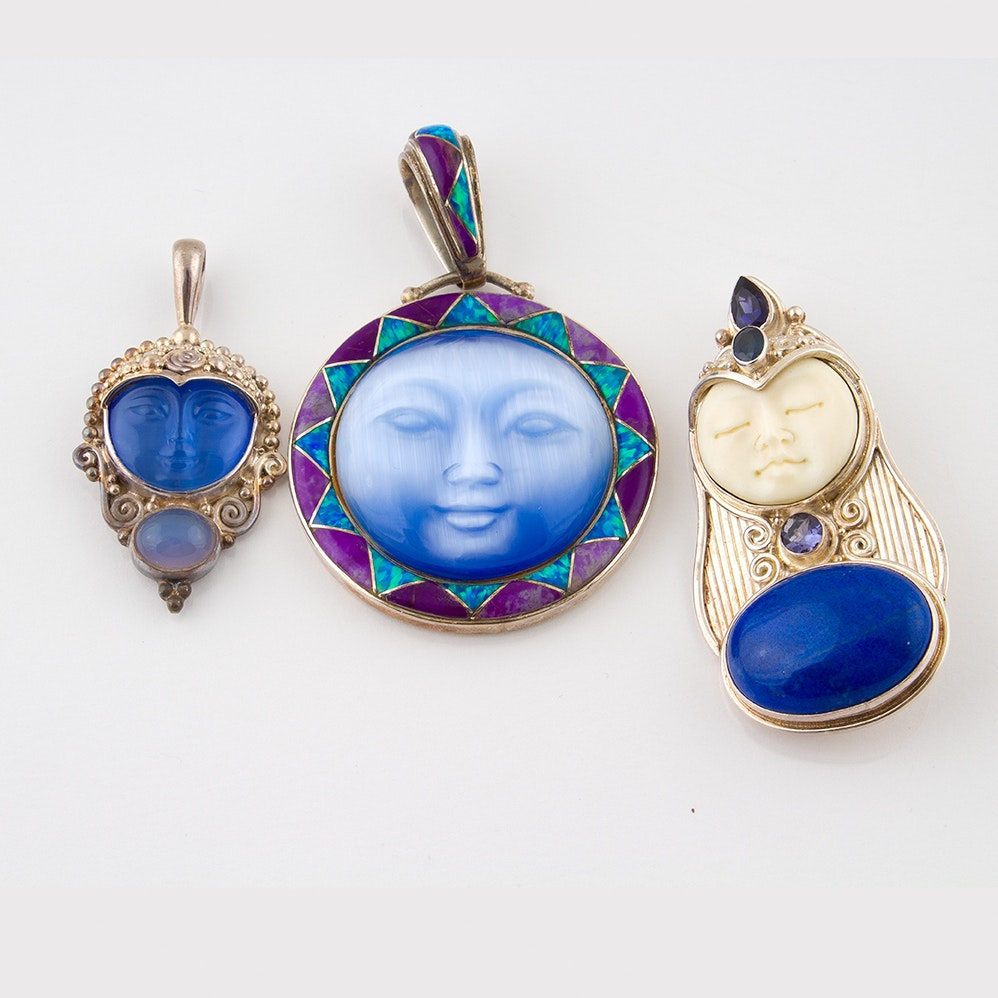Sajen Sterling Silver Pendants Featuring Bone, Moonstone, Lapis and Iolite