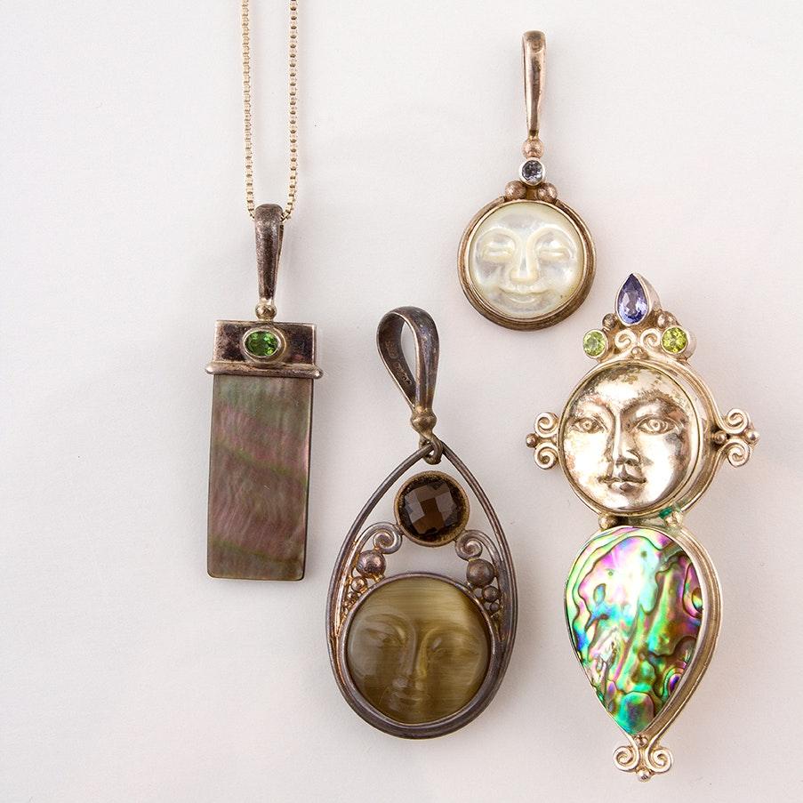 Sajen Sterling Necklace and Pendants Featuring Abalone, Peridot and Tanzanite