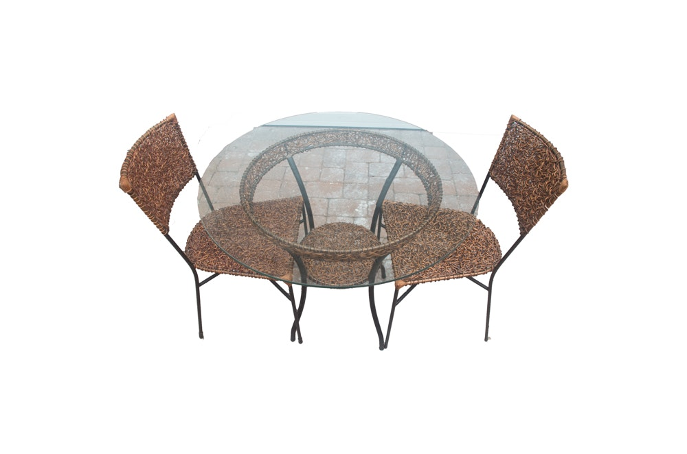 Three-Piece Wire Patio Set with Glass Top Table