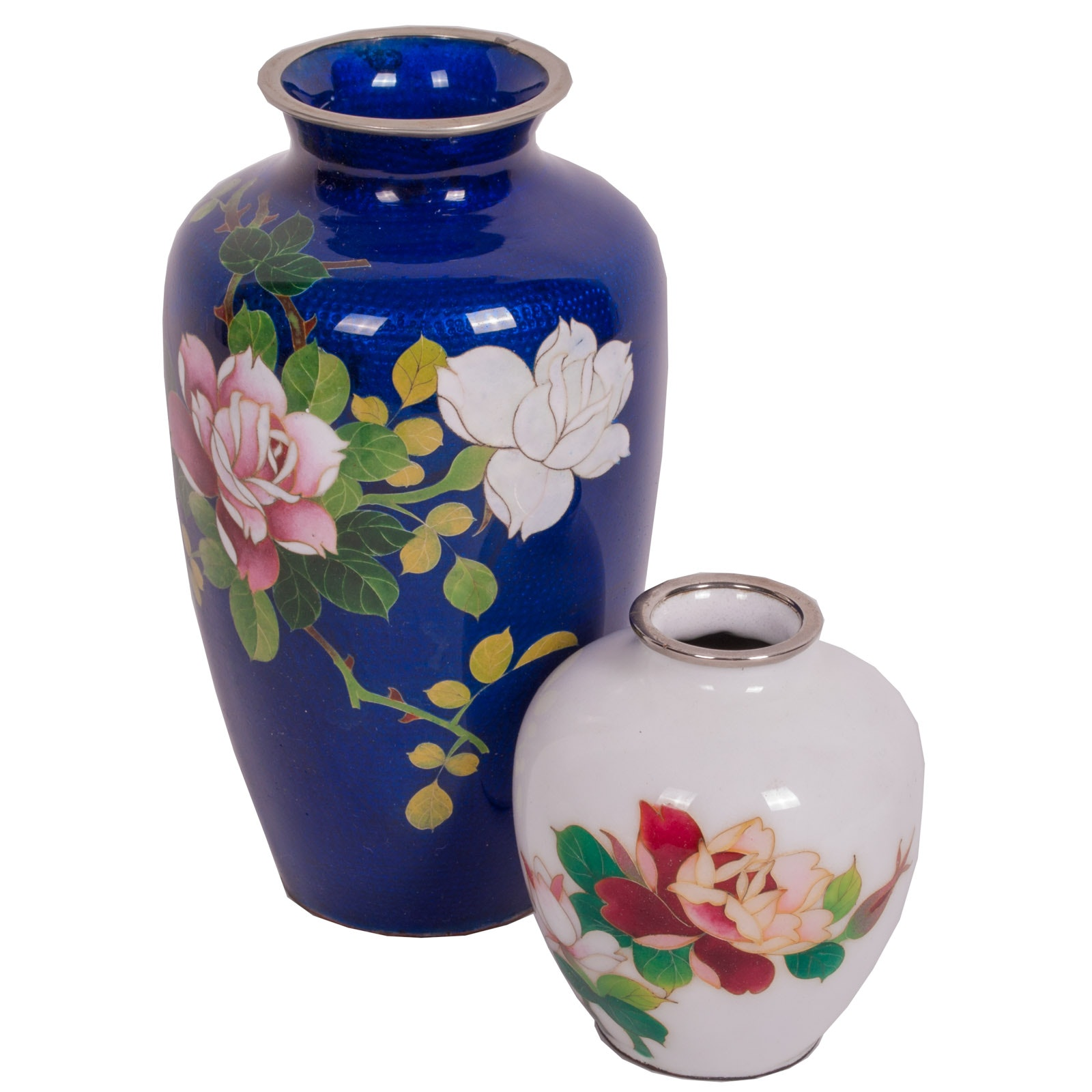 Chinese Cloisonné Rose Vases