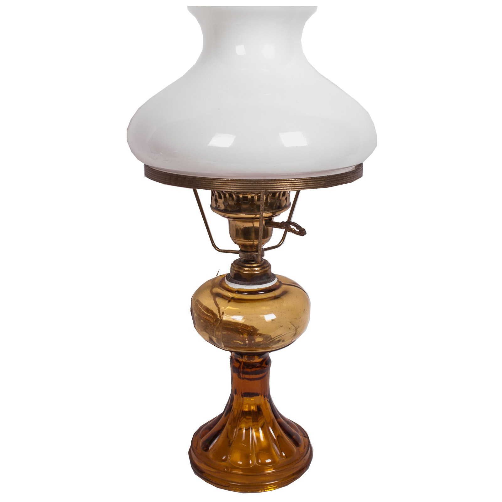 Converted Antique Amber Glass Oil Lamp