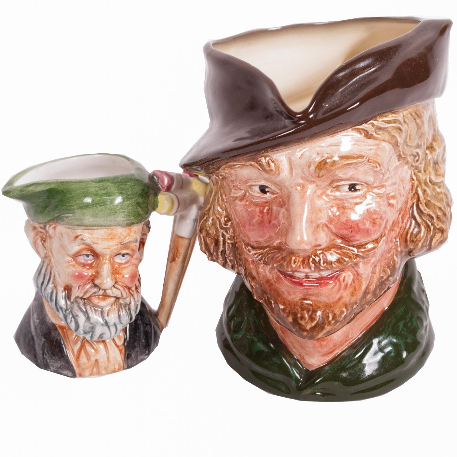 """Royal Doulton """"Robin Hood"""" Character Jug and Miniature Character Jug"""