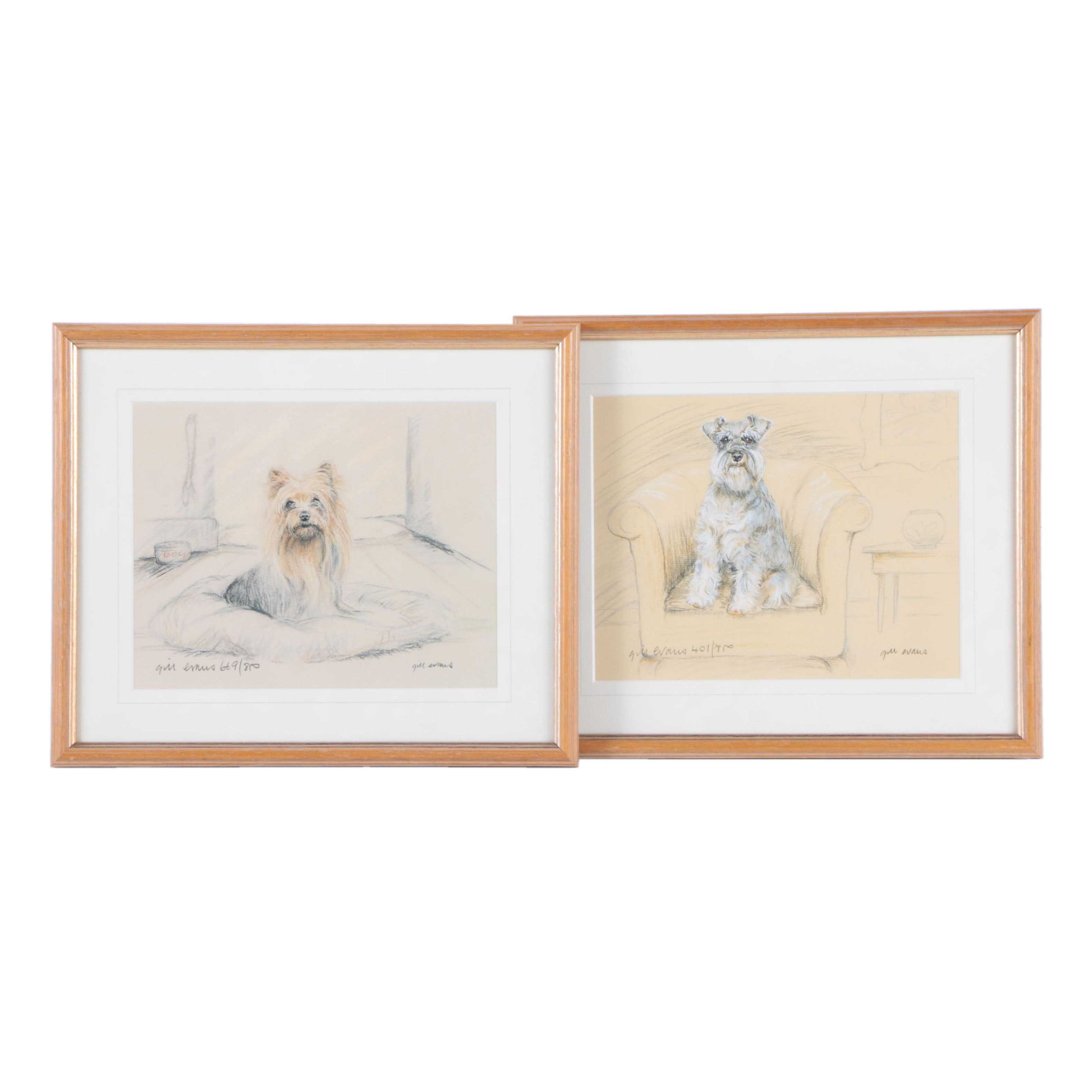 Gill Evans Limited Edition Offset Lithographs of Dogs