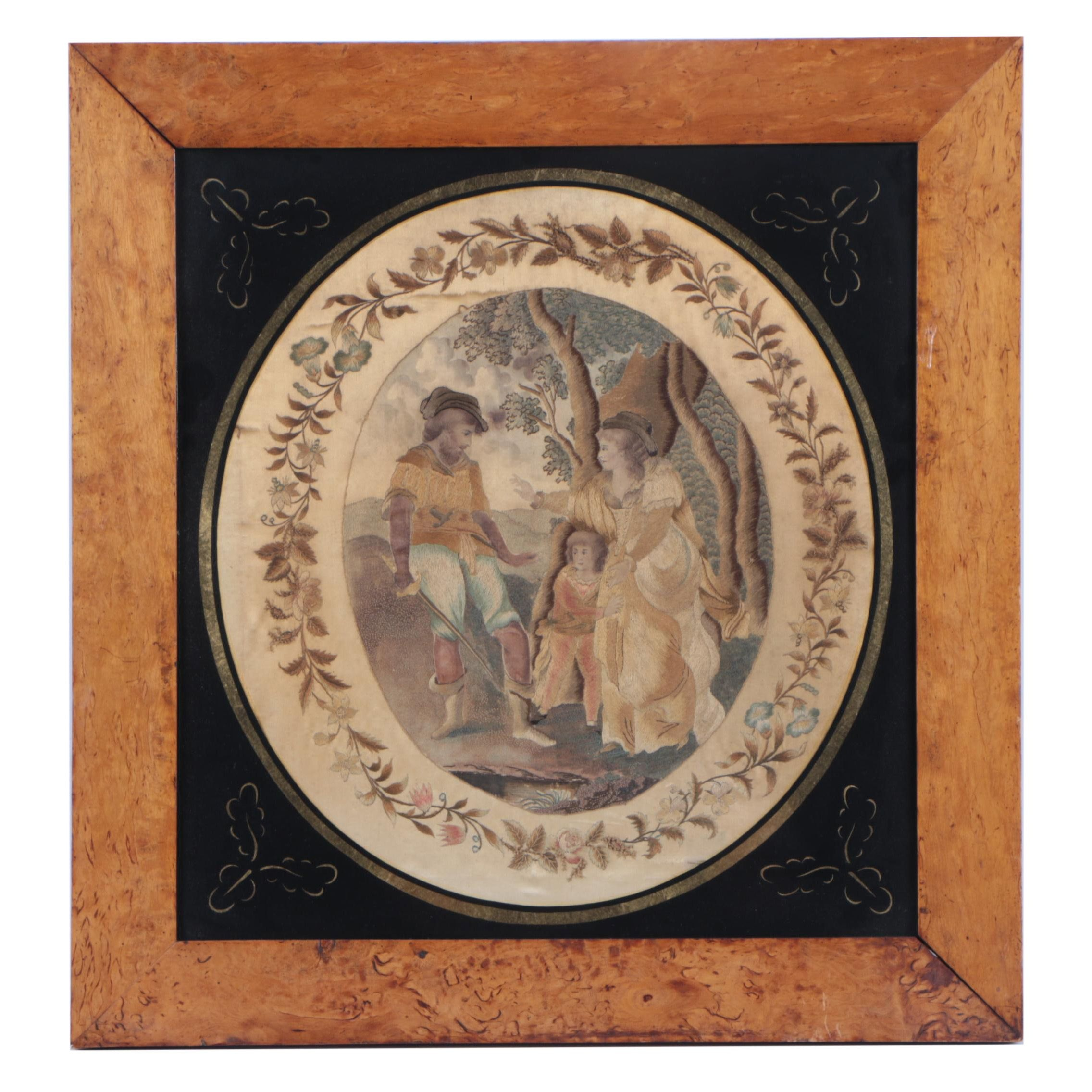 Antique Hand-Painted and Embroidered Silk of Family Scene