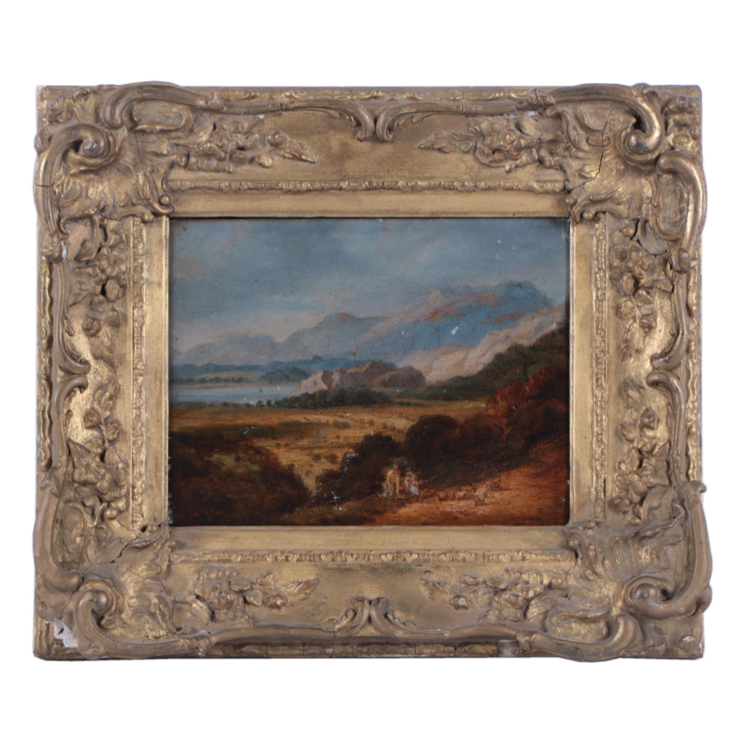 Antique Oil Painting on Board of Figures in a Mountain Landscape