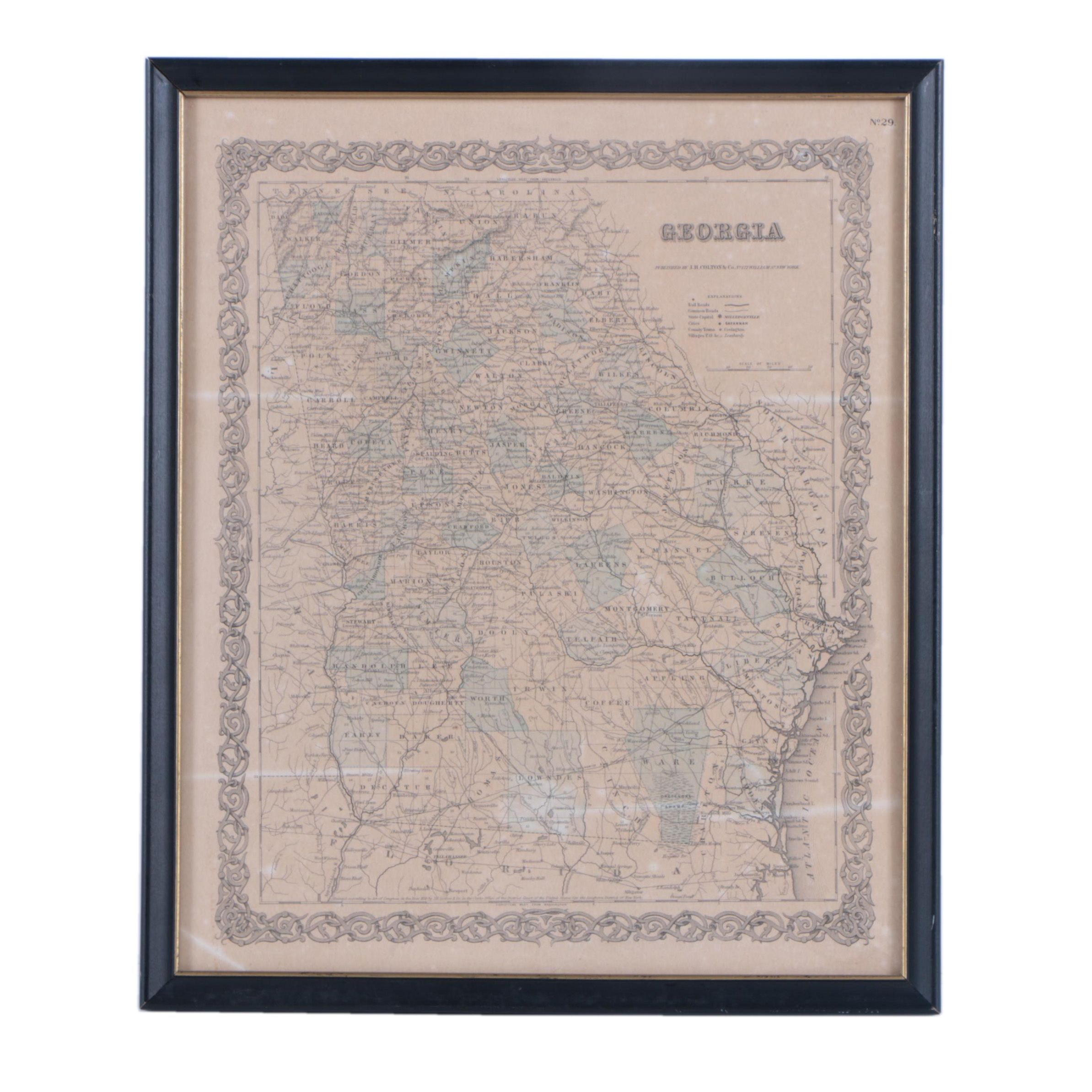 J. H. Colton & Co. 1855 Hand-Colored Map of Georgia