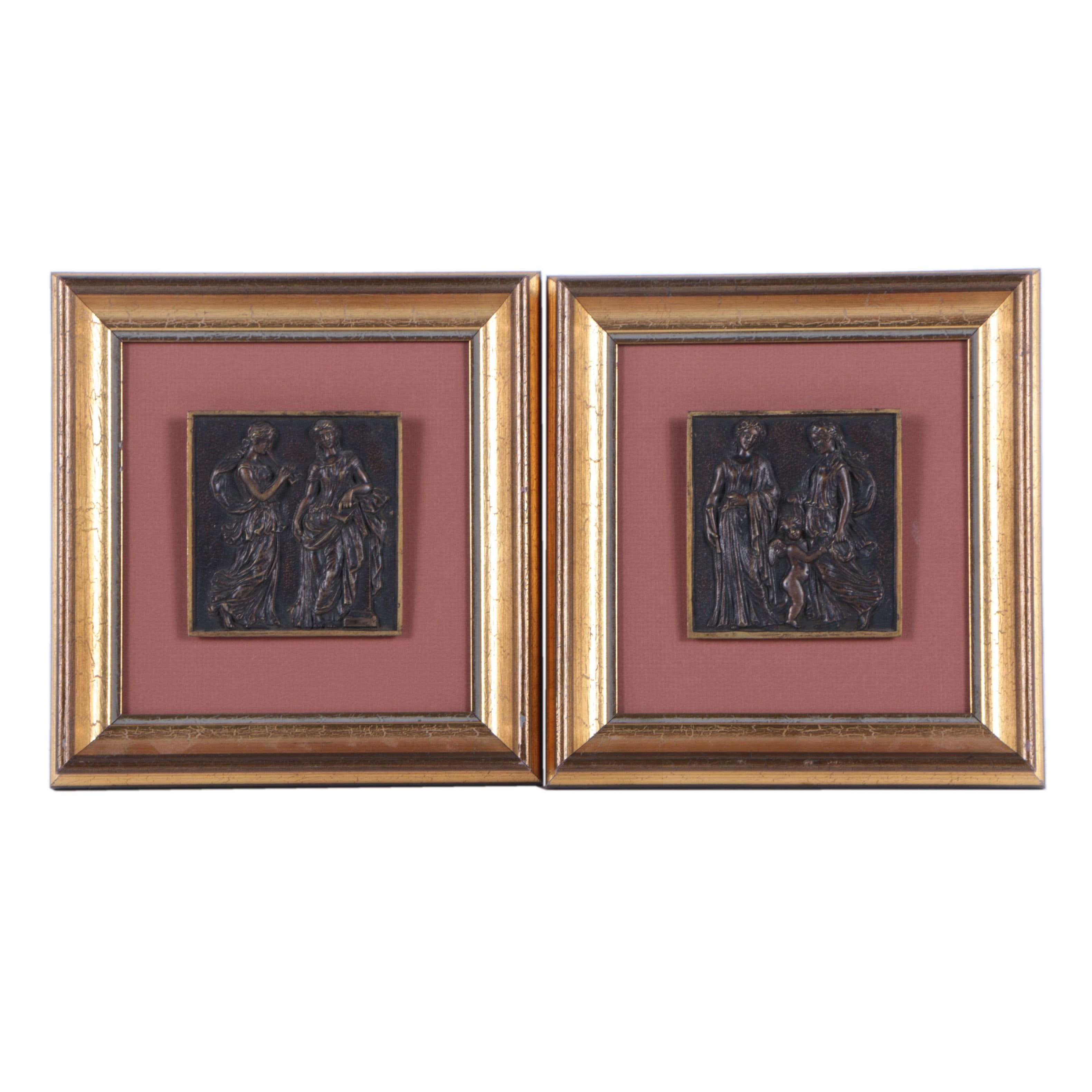 Framed Metal Relief Tiles of Greco-Roman Style Women