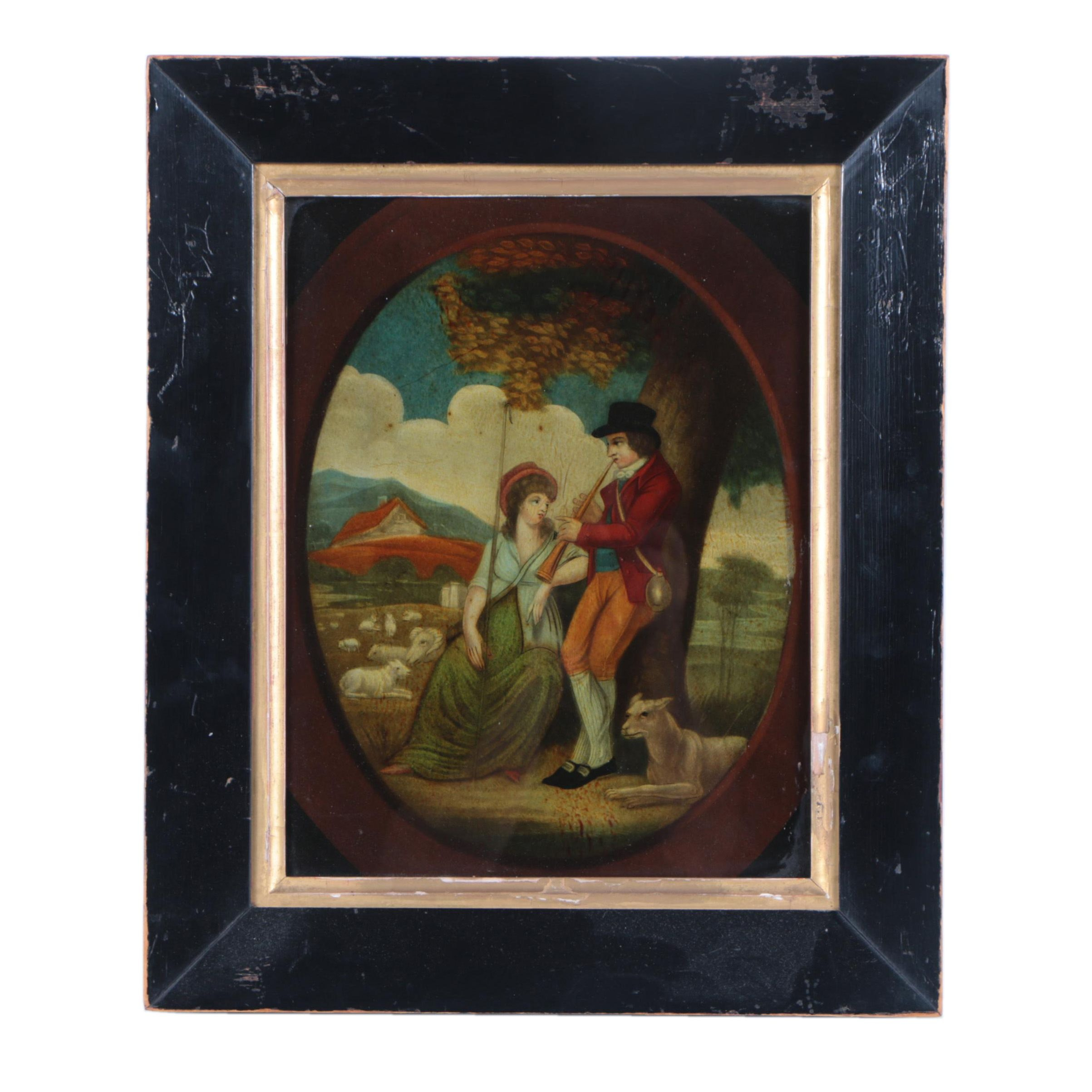 Antique Reverse Glass Hand-Colored Mezzotint Transfer