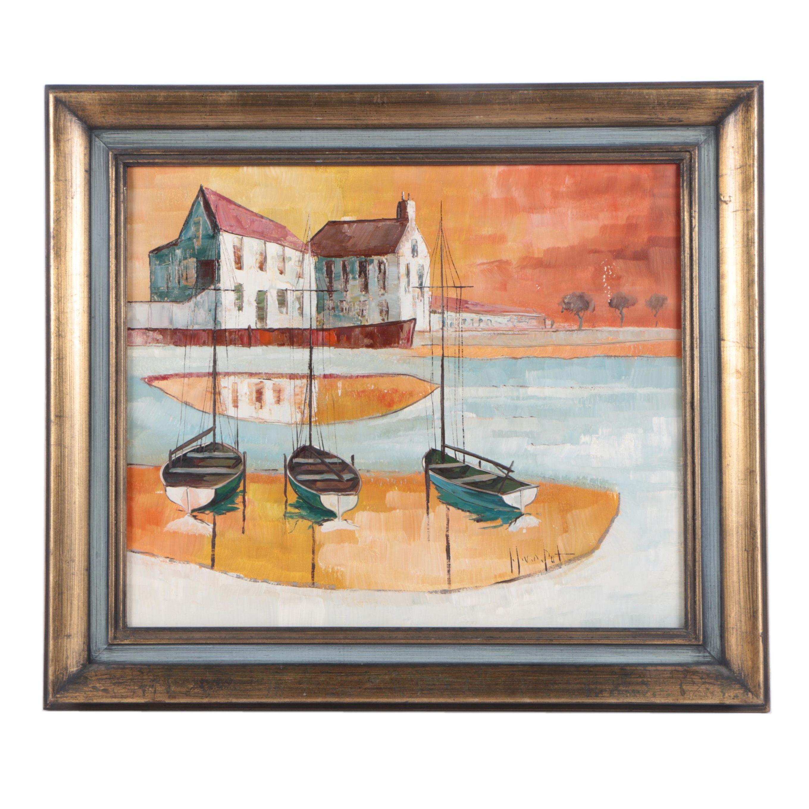 Mid-Century Oil on Canvas of Harbor Scene