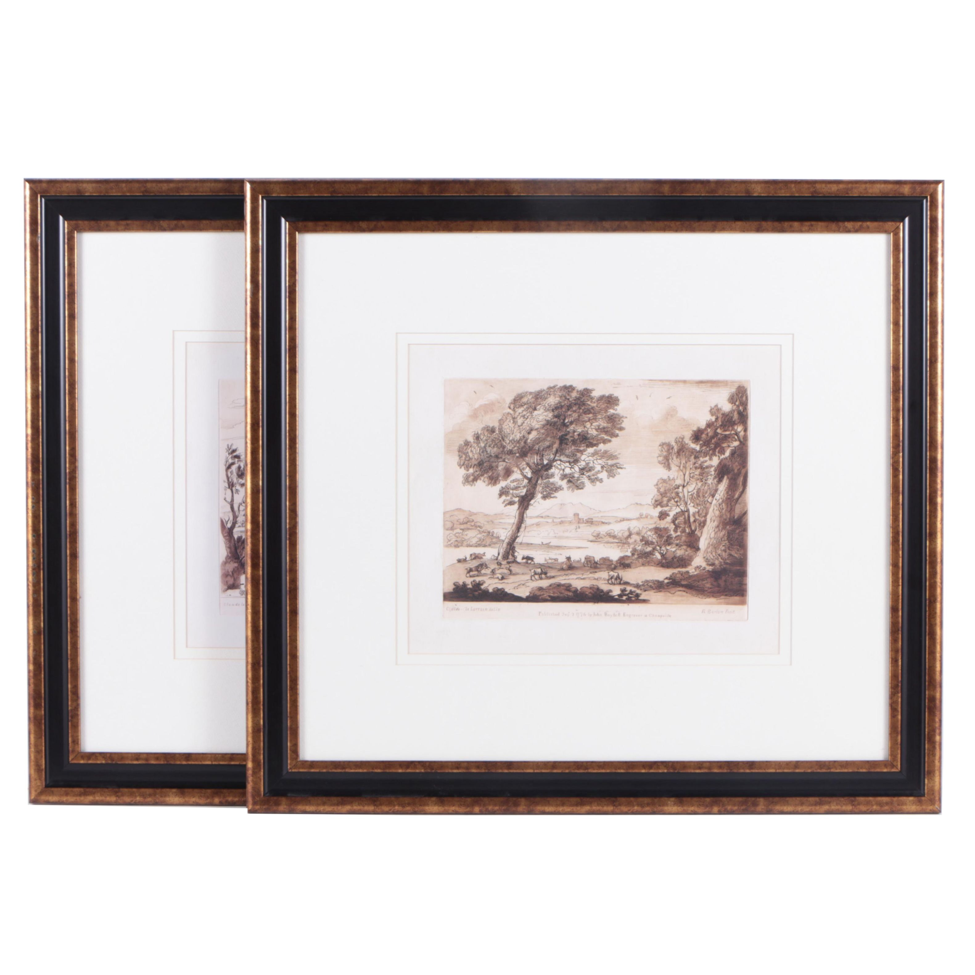 Offset Lithographs After Claude Lorrain's Etchings of Landscapes