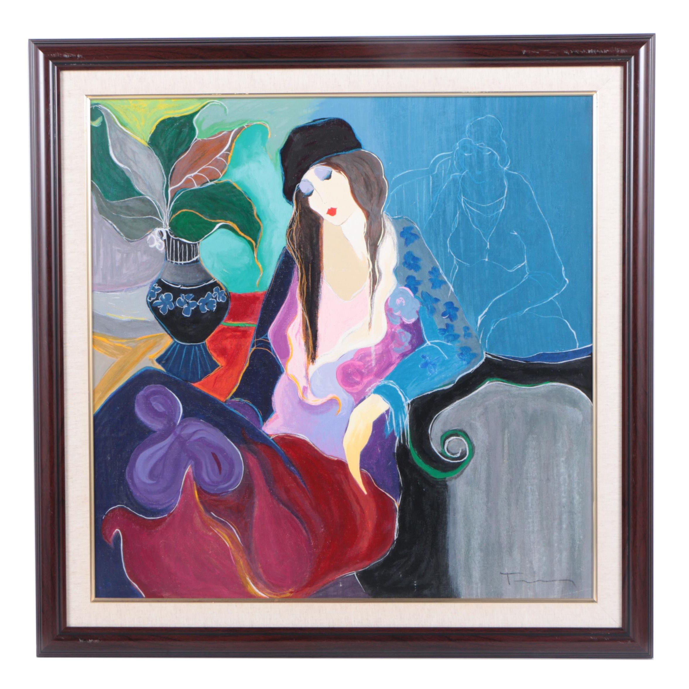"Itzchak Tarkay Embellished Serigraph Print on Canvas ""Winnie"""