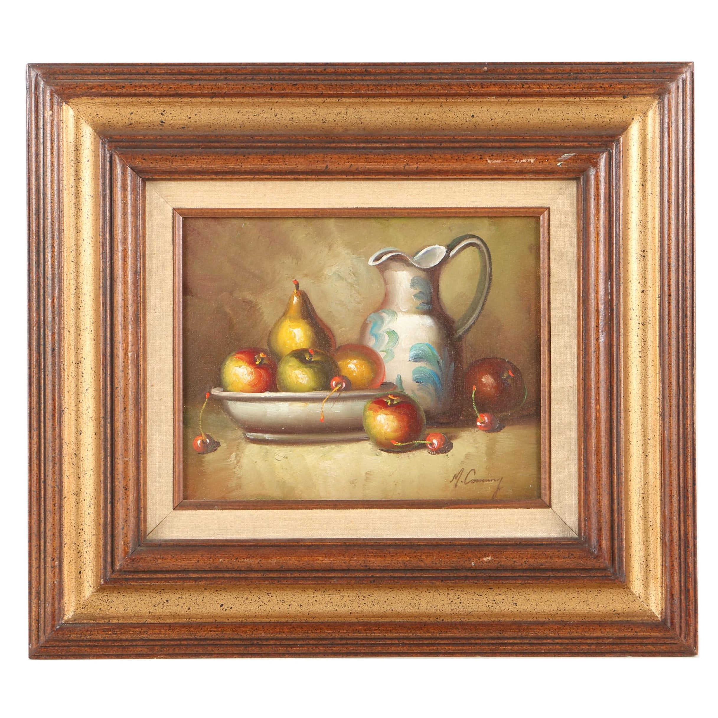 M. Conway Oil Painting on Panel Still Life with Fruit