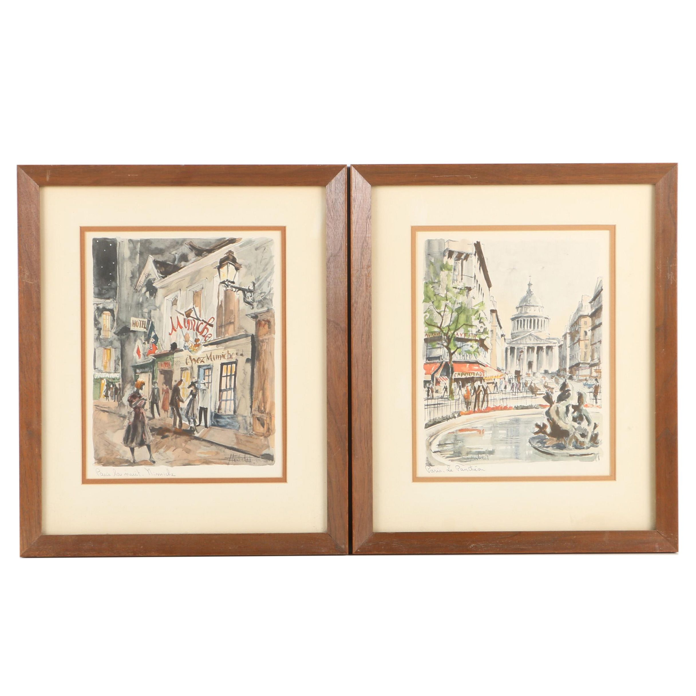 "Lithographs ""Paris, Le Pantheon"" and ""Paris la nuit. Mimiche"" after Herbelot"