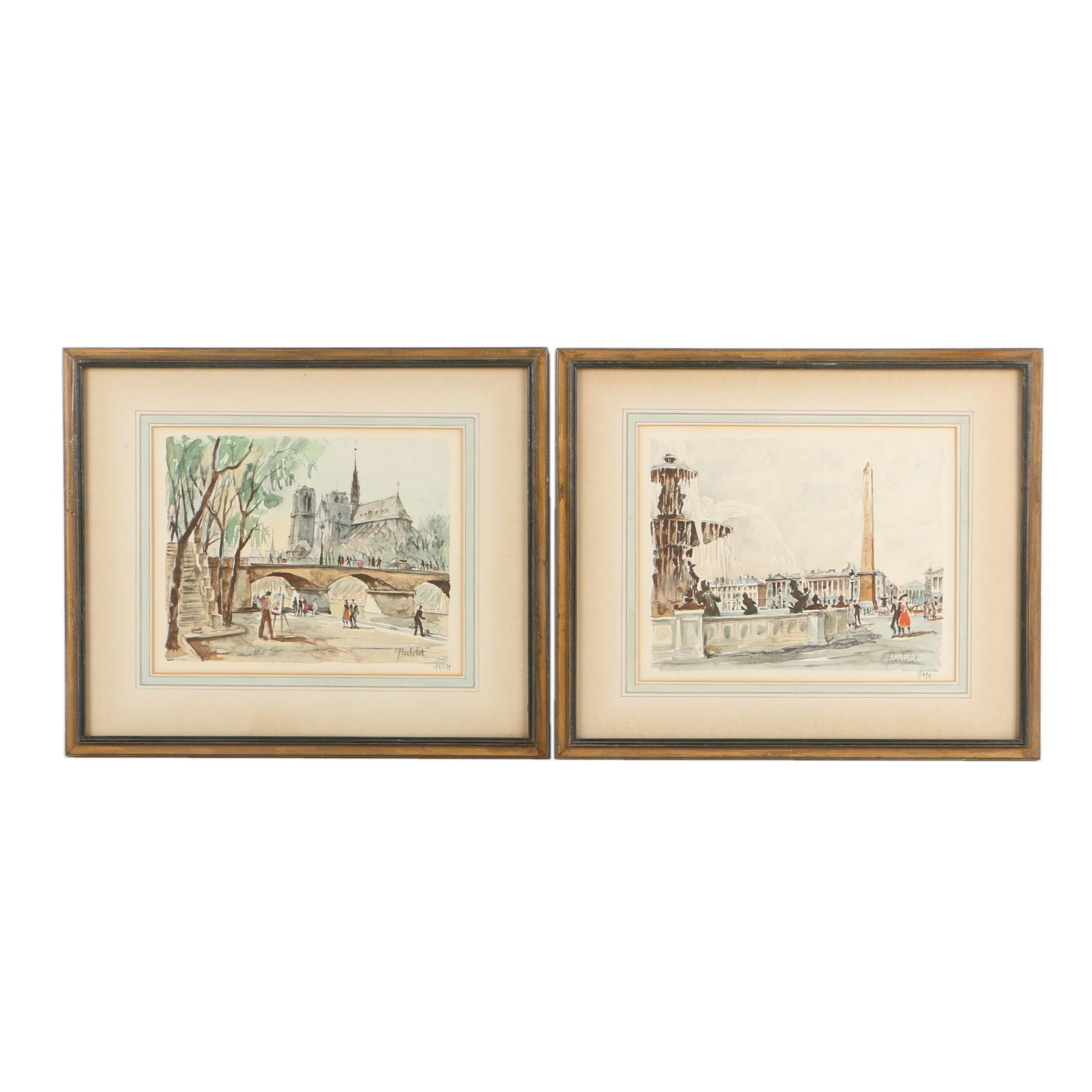 Herbelot Limited Edition Lithograph Prints of Paris Street Scenes
