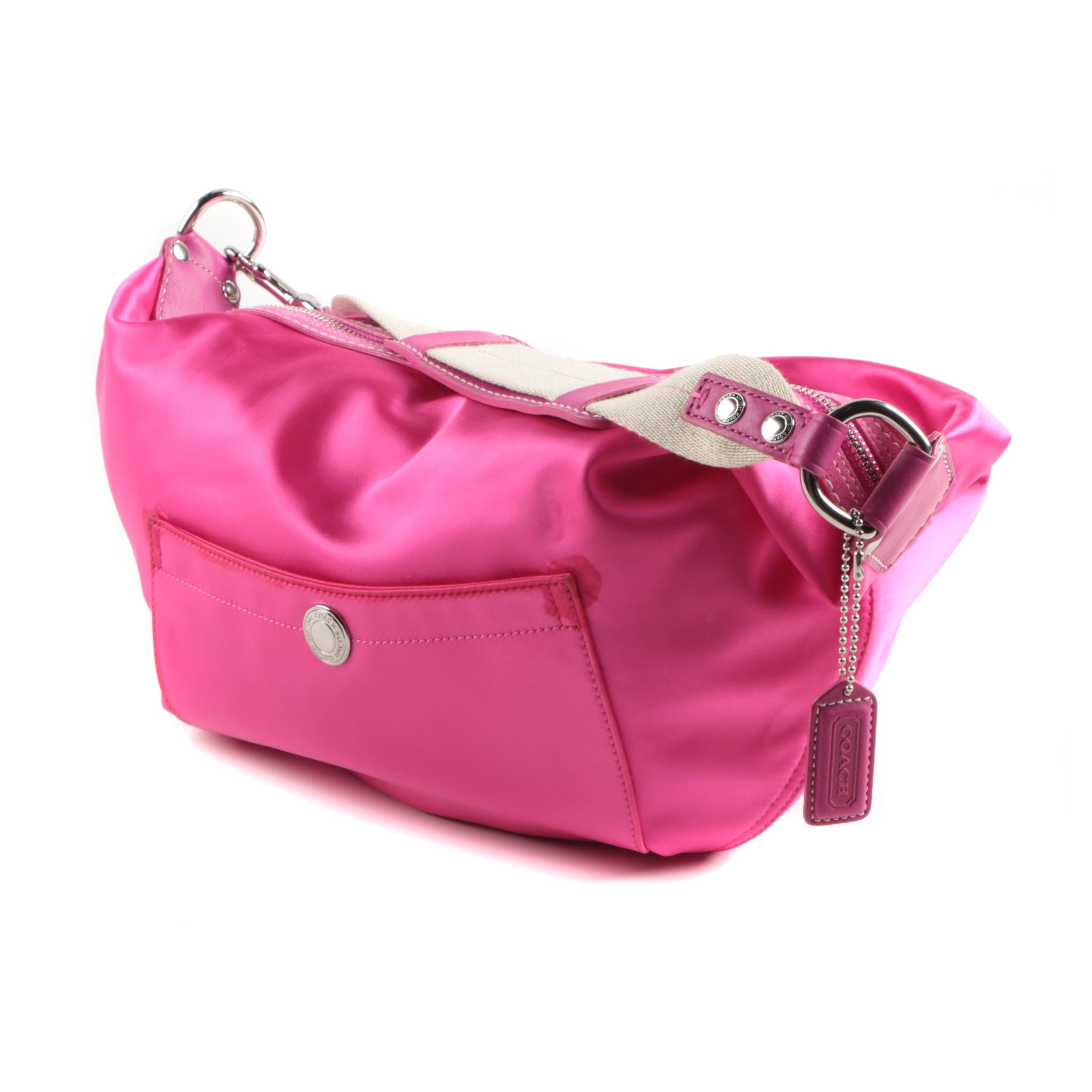 Coach Hampton Pink Satin Hobo Bag