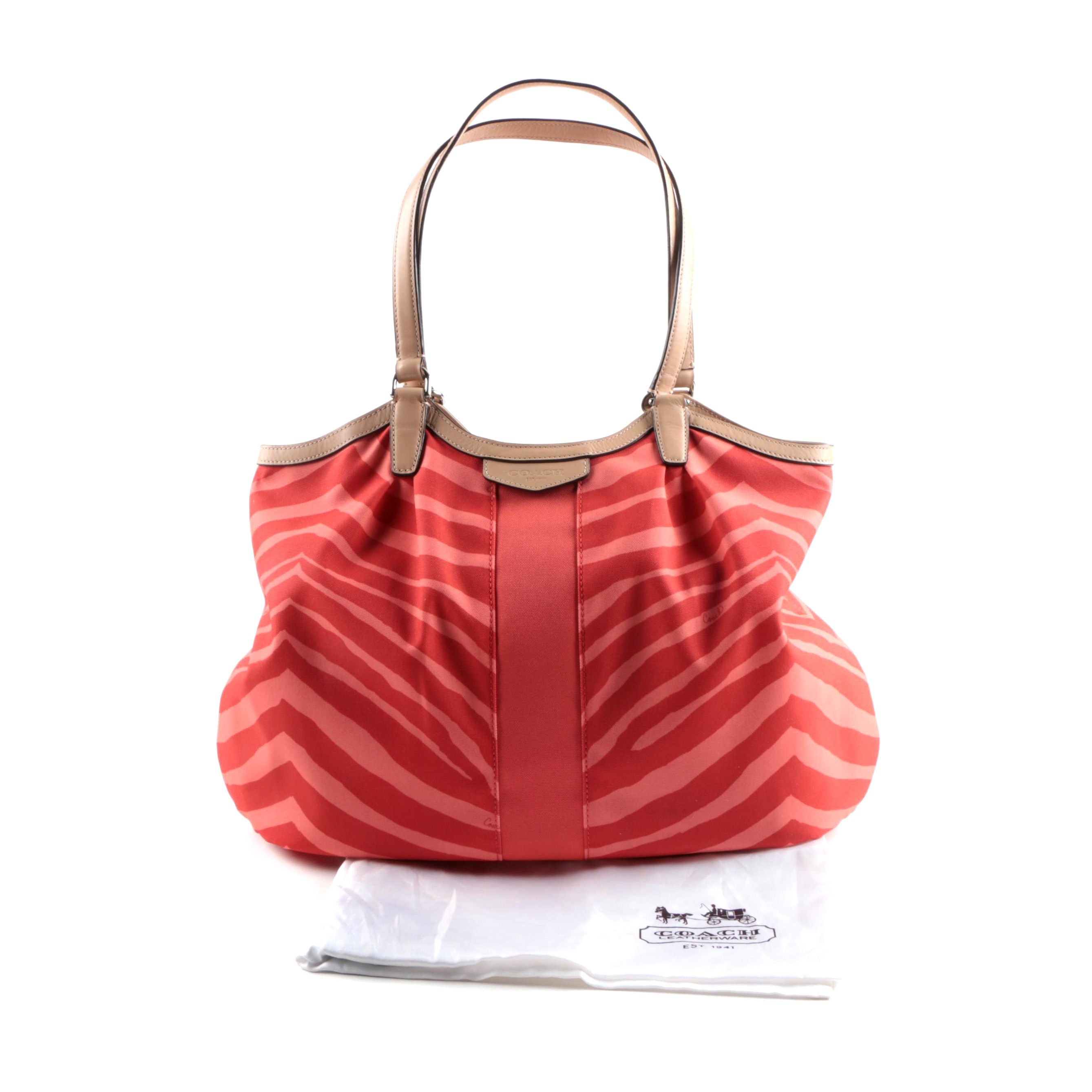 Coach Devin Zebra Print Shoulder Bag