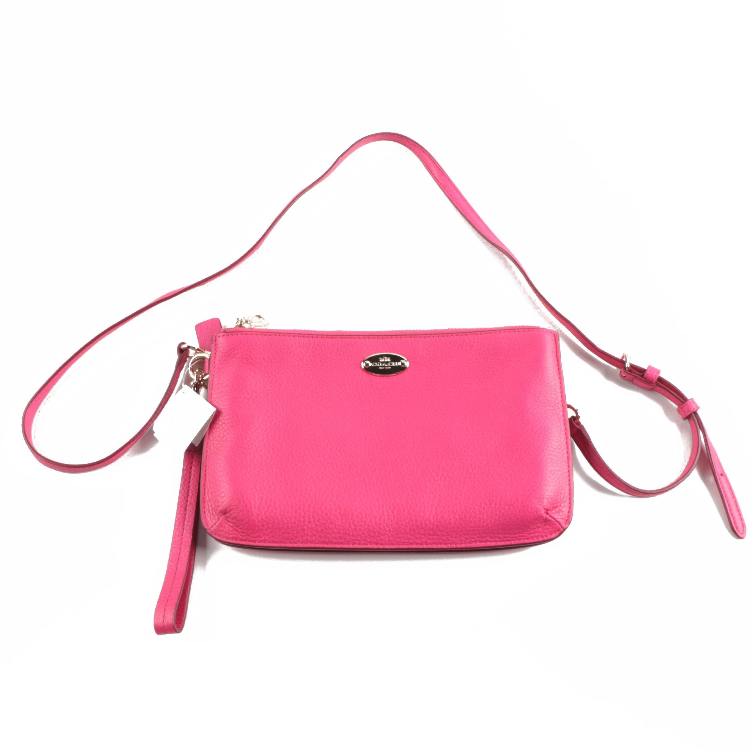 Coach Lyla Double Gusset Pink Ruby Pebbled Leather Crossbody/Wristlet