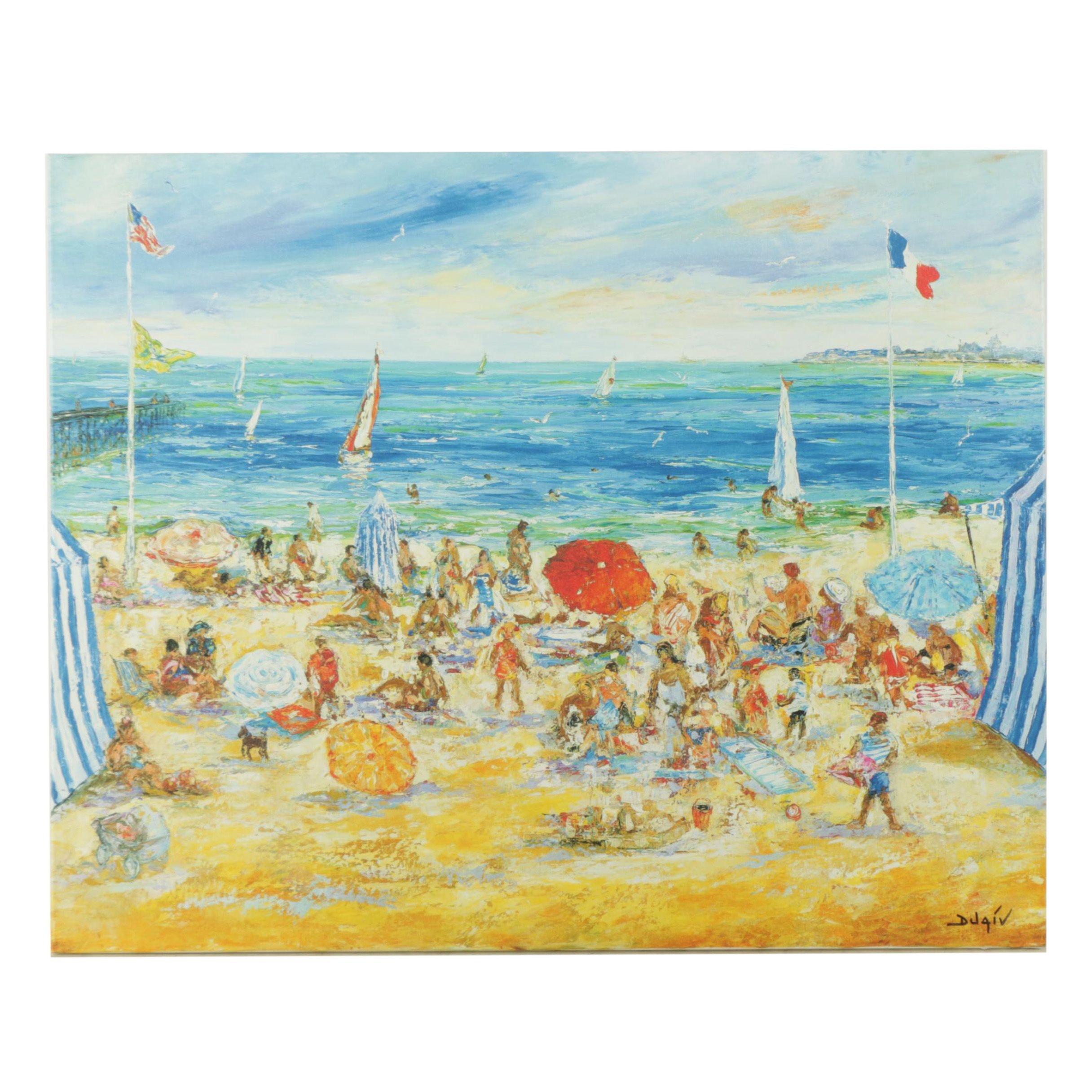 """Duaiv Limited Edition Giclee on Canvas """"Sur la Plage de Trouville"""""""