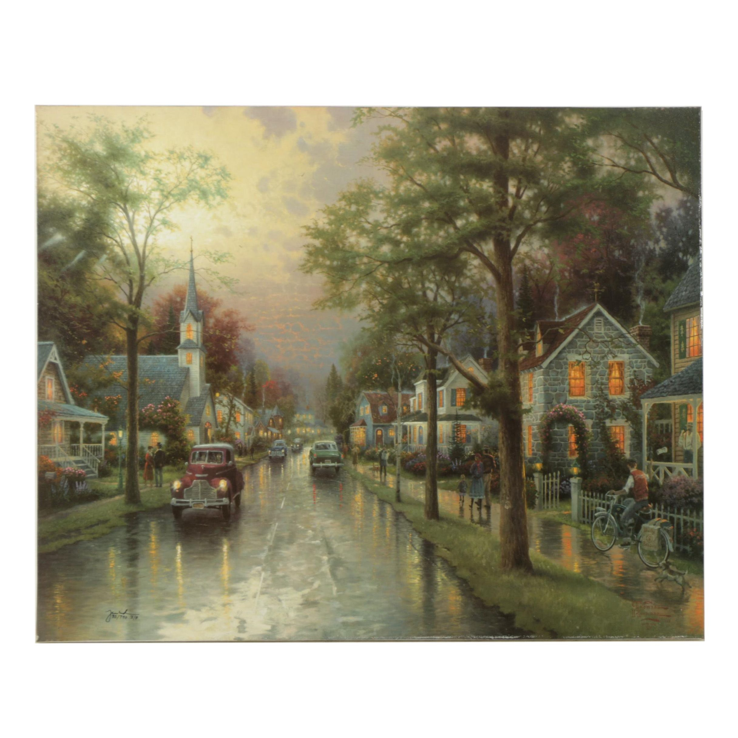 """Thomas Kinkade Limited Edition Offset Lithograph on Canvas """"Hometown Morning"""""""