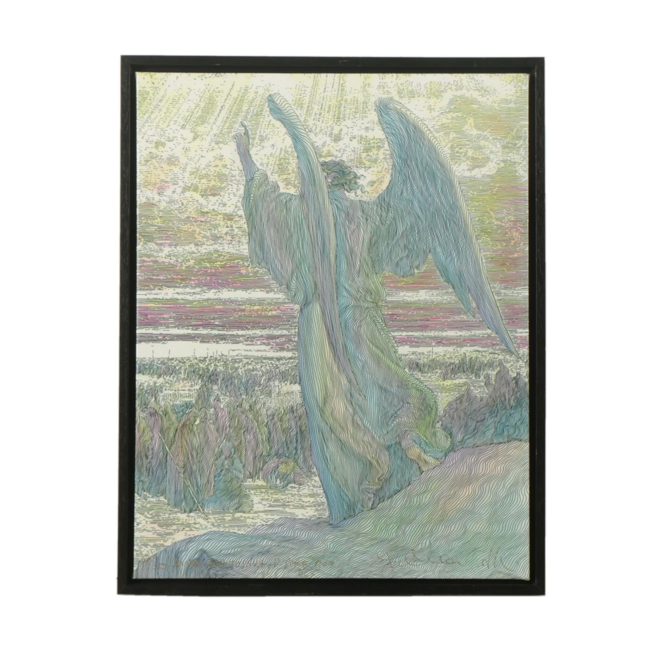 "Limited Edition Giclee on Canvas After Guillaume Azoulay ""Angel and Joshua"""