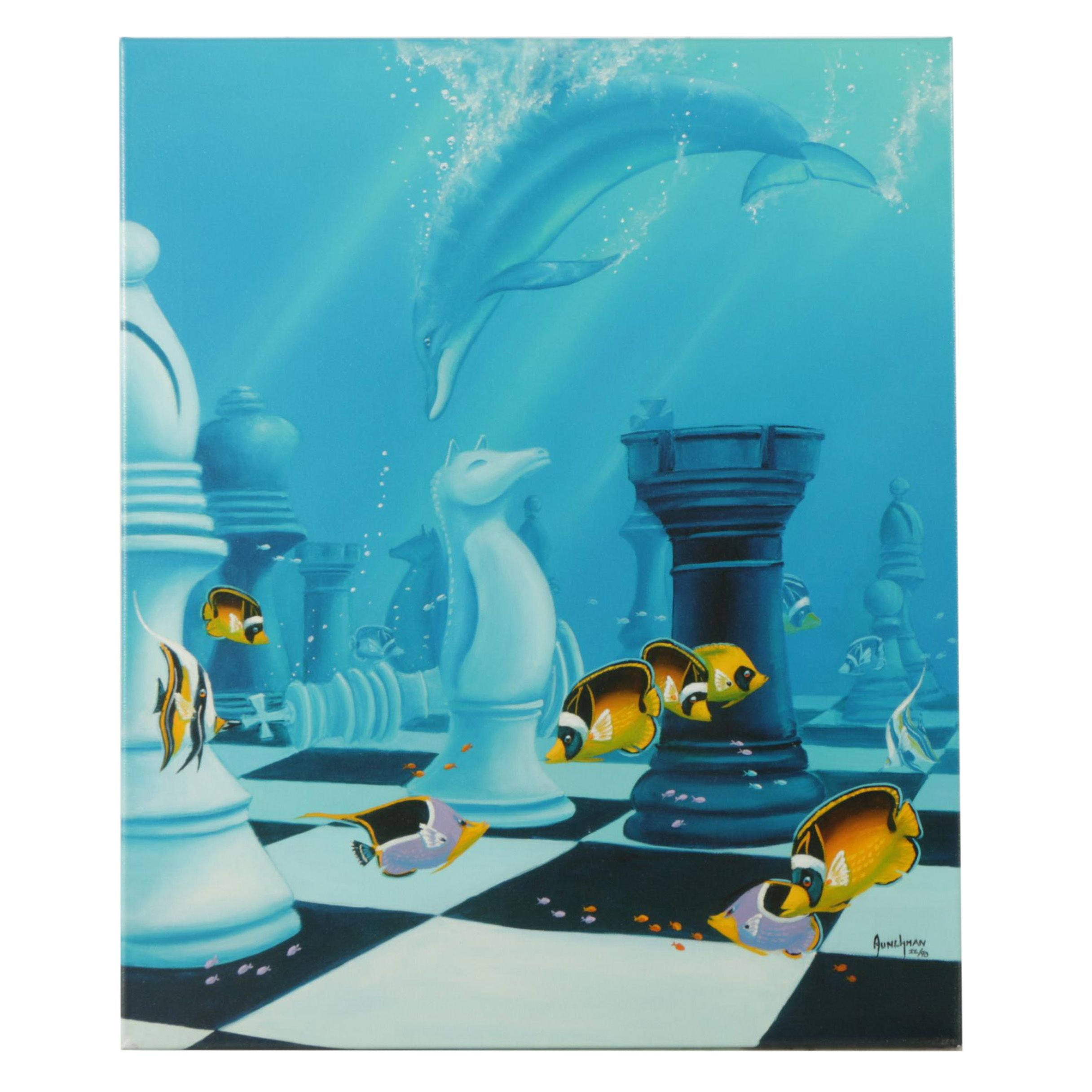 "Limited Edition Embellished Giclee Print After Kenneth F Aunchman ""Checkmate"""