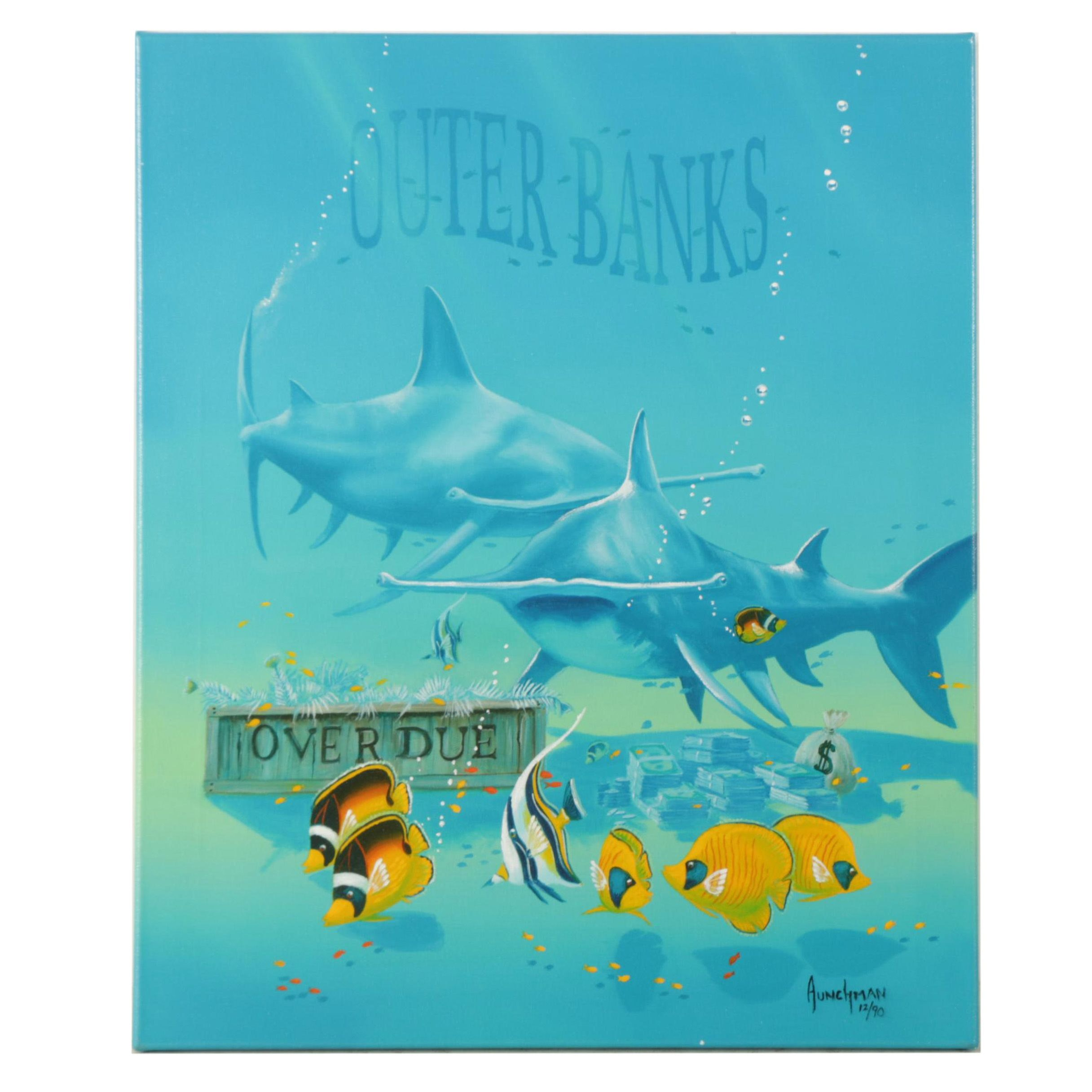 "Limited Edition Giclee on Canvas After Kenneth Aunchman ""Loan Sharks"""