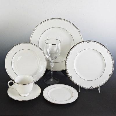 Lenox  Federal Platinum  China Dinnerware and Wine Glasses ... & Lenox