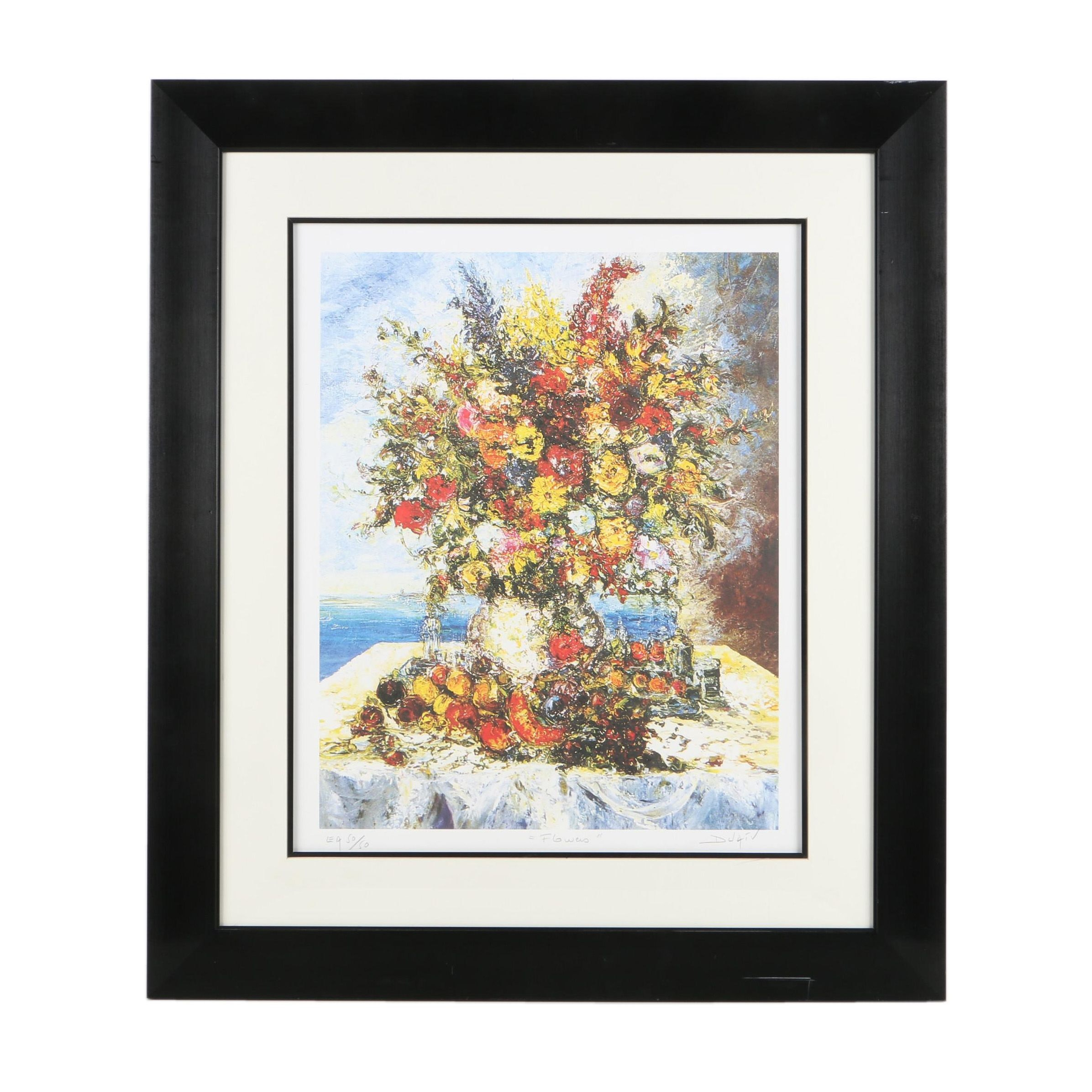 "Duaiv Limited Edition Offset Lithograph on Paper ""Flowers"""