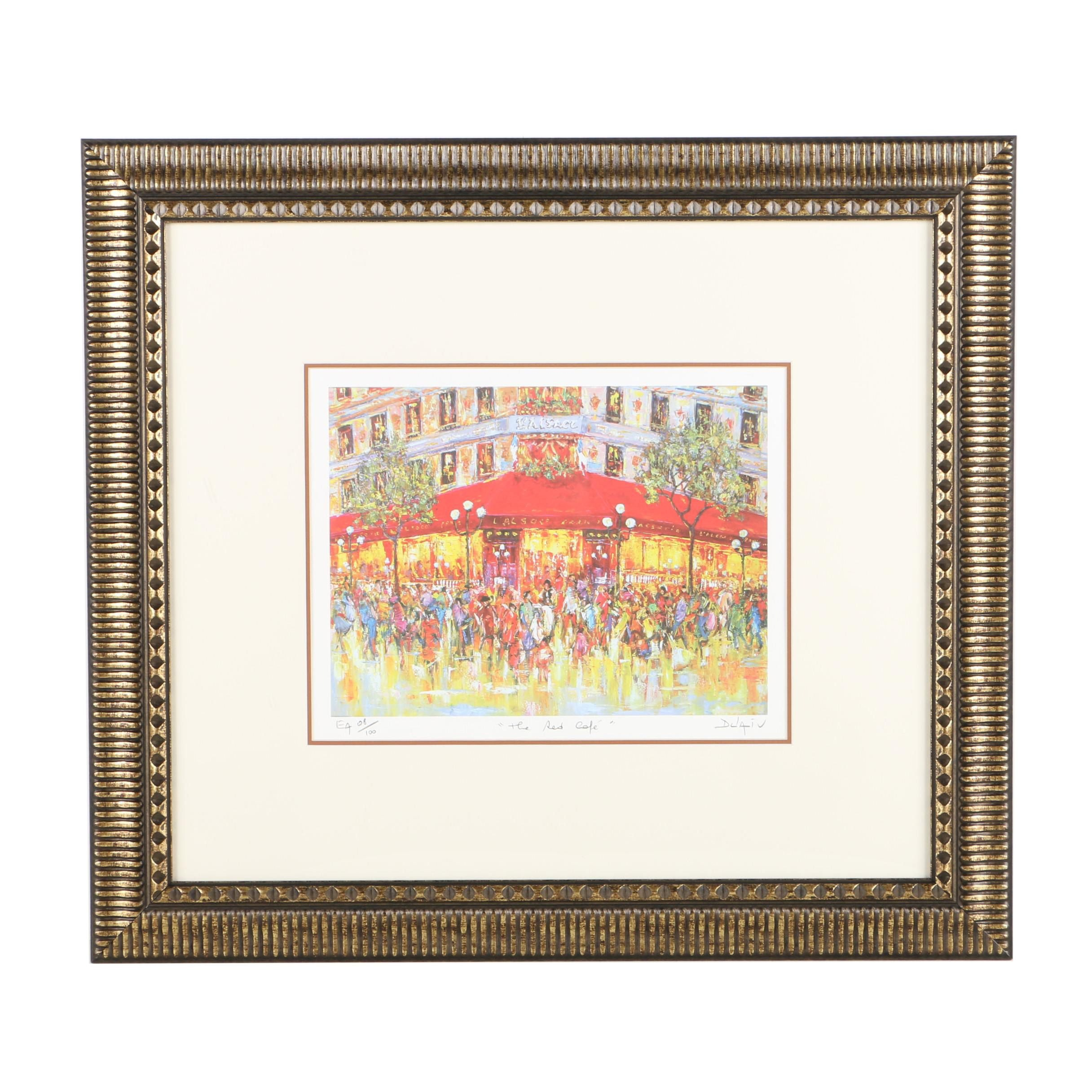 "Duaiv Limited Edition Offset Lithograph on Paper ""The Red Cafe"""