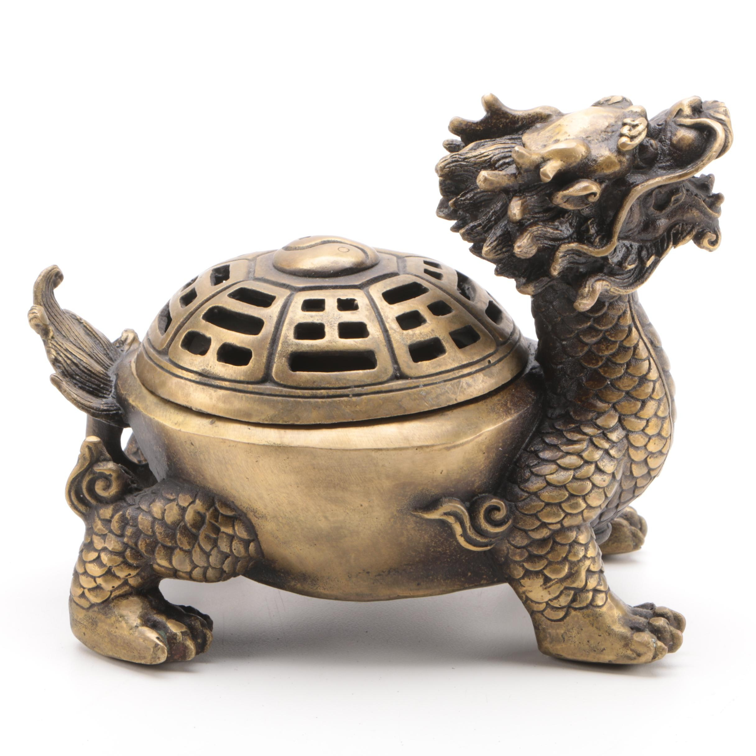 Chinese Brass Dragon Censer