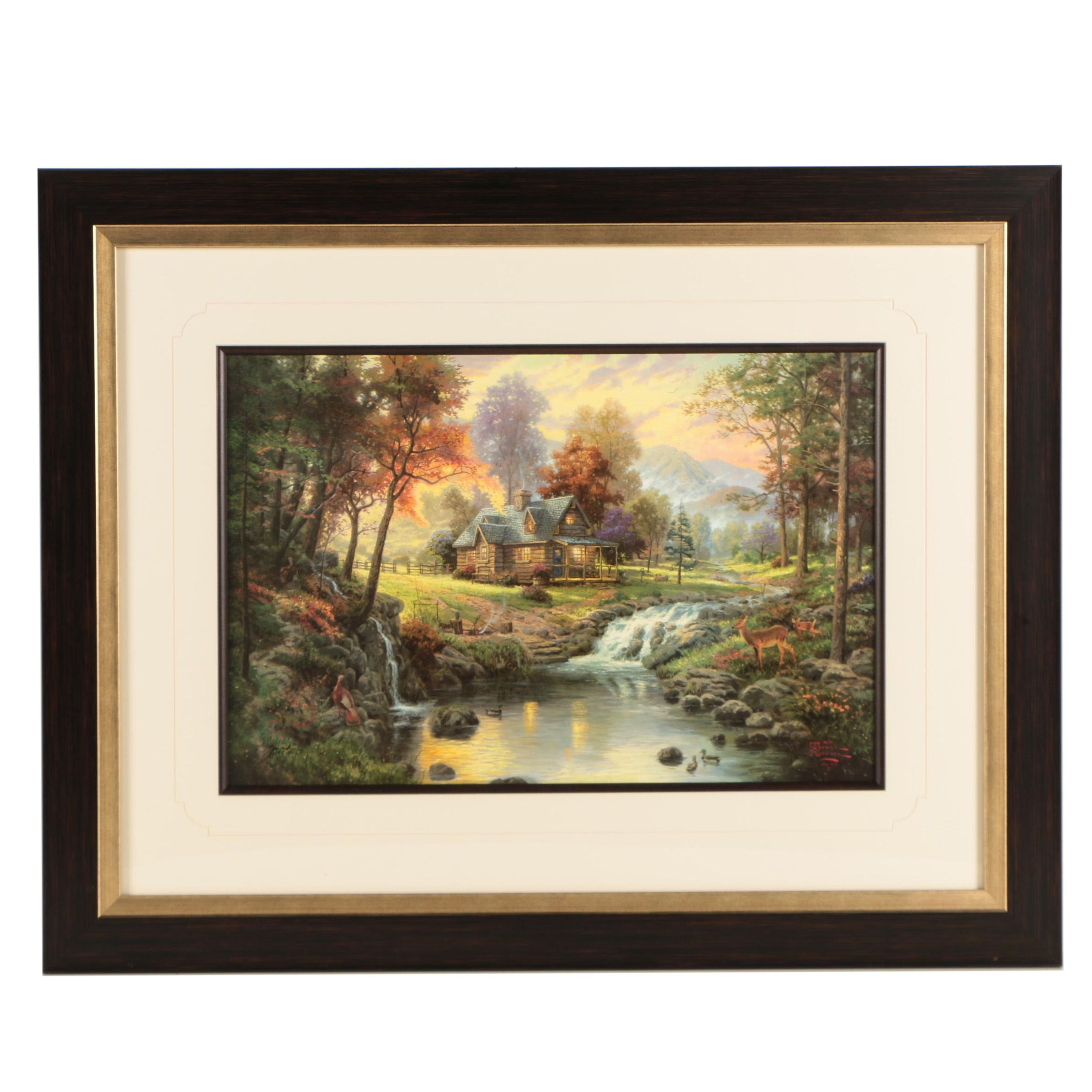 "Thomas Kinkade Limited Edition Offset Lithograph ""Mountain Retreat"""