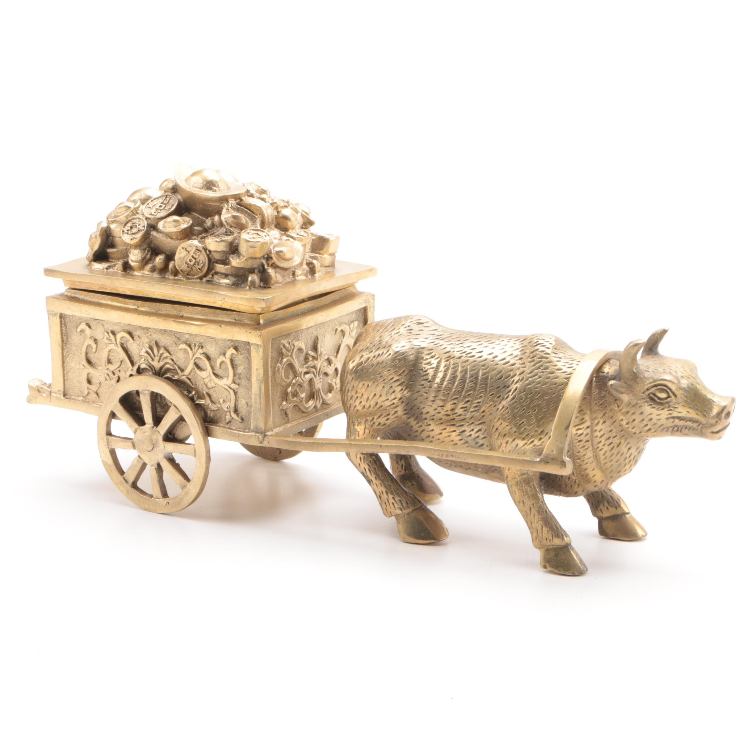 Chinese Brass Ox Figurine and Oxcart Trinket Box