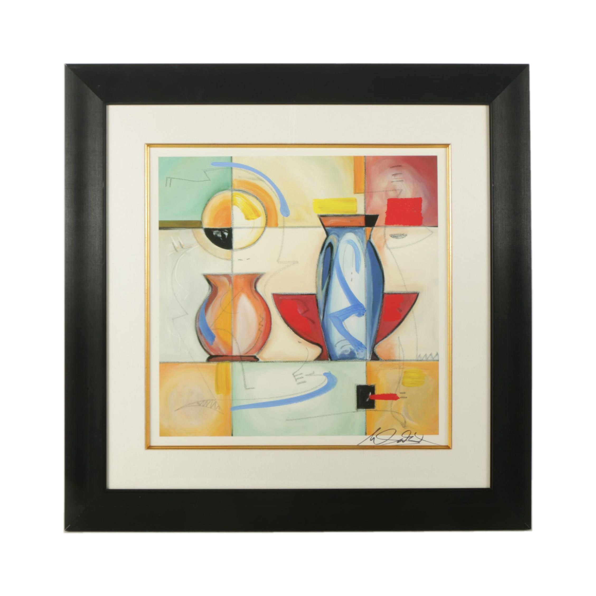 """Embellished Offset Lithograph After Alfred Gockel """"Through the Stained Glass"""""""