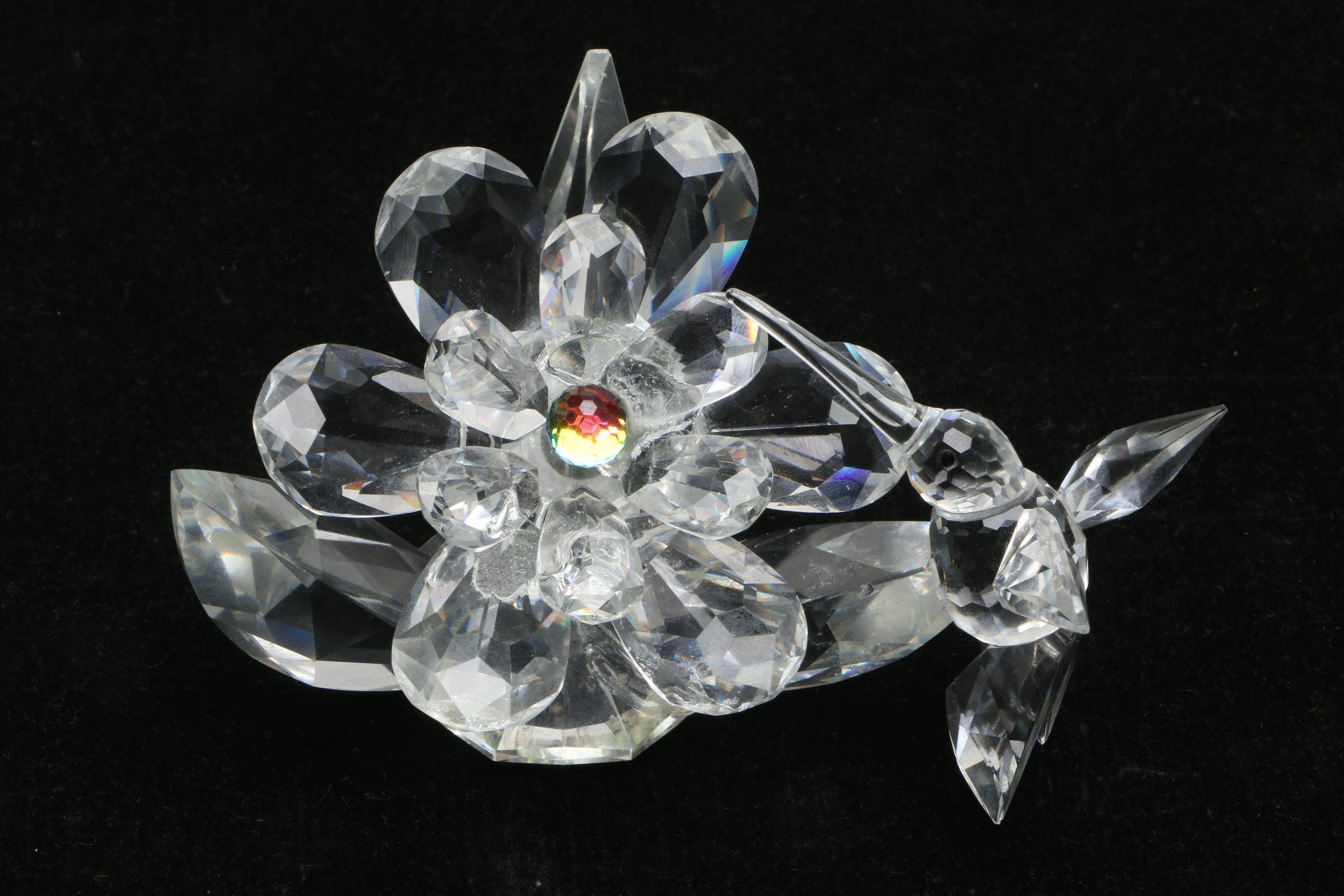 Vintage Swarovski Iris Arc Crystal Humming Bird and Flower Figurine