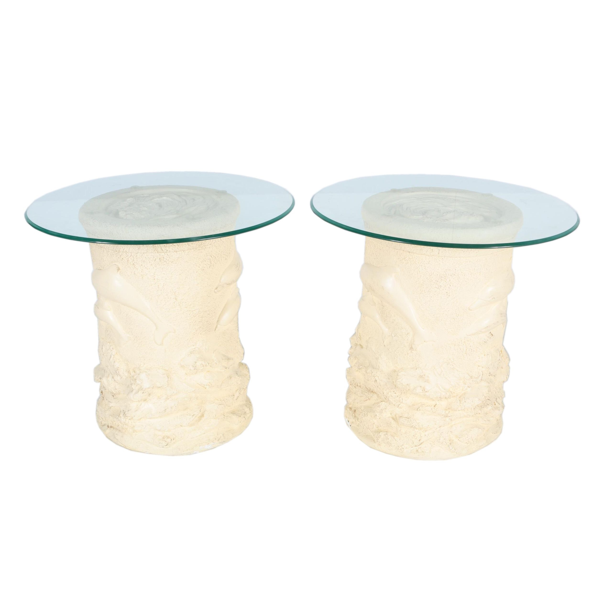 Pair of Glass Top Dolphin Motif End Tables
