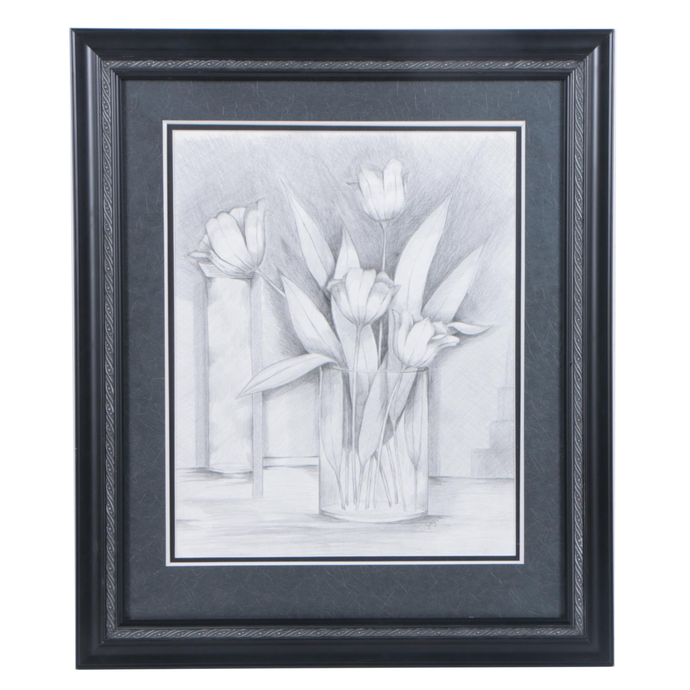 Joyce Graphite Drawing on Paper of Flowers in Vase