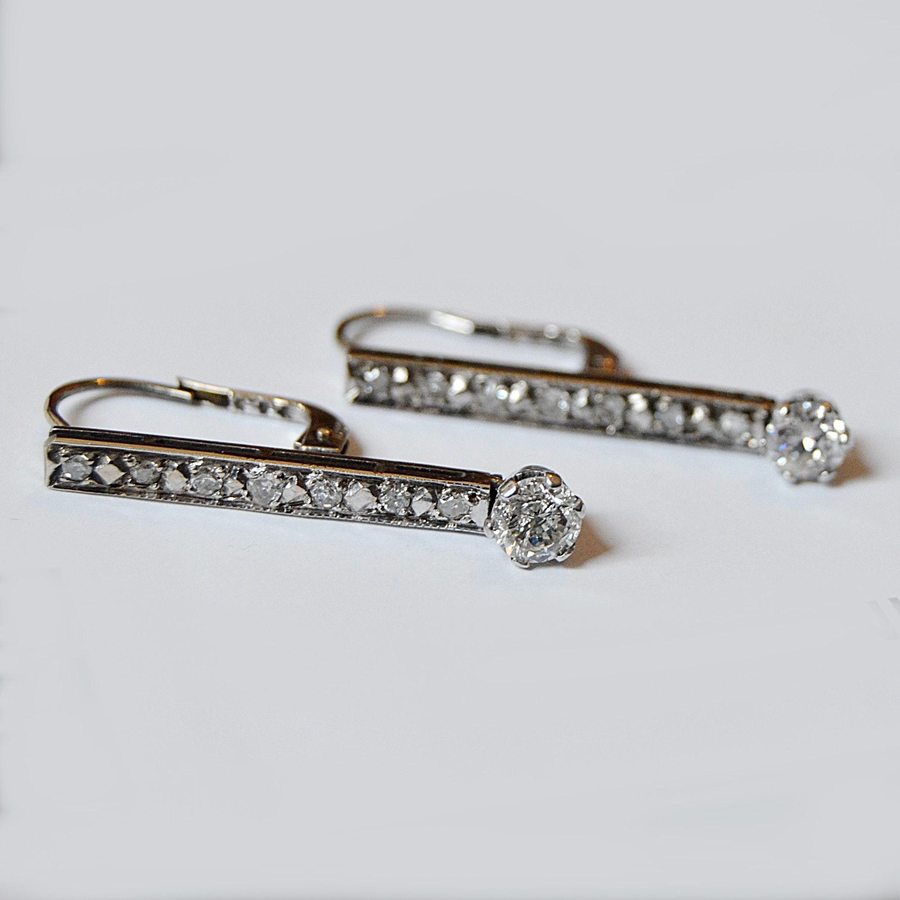 10K White Gold and Diamond Pierced Earrings