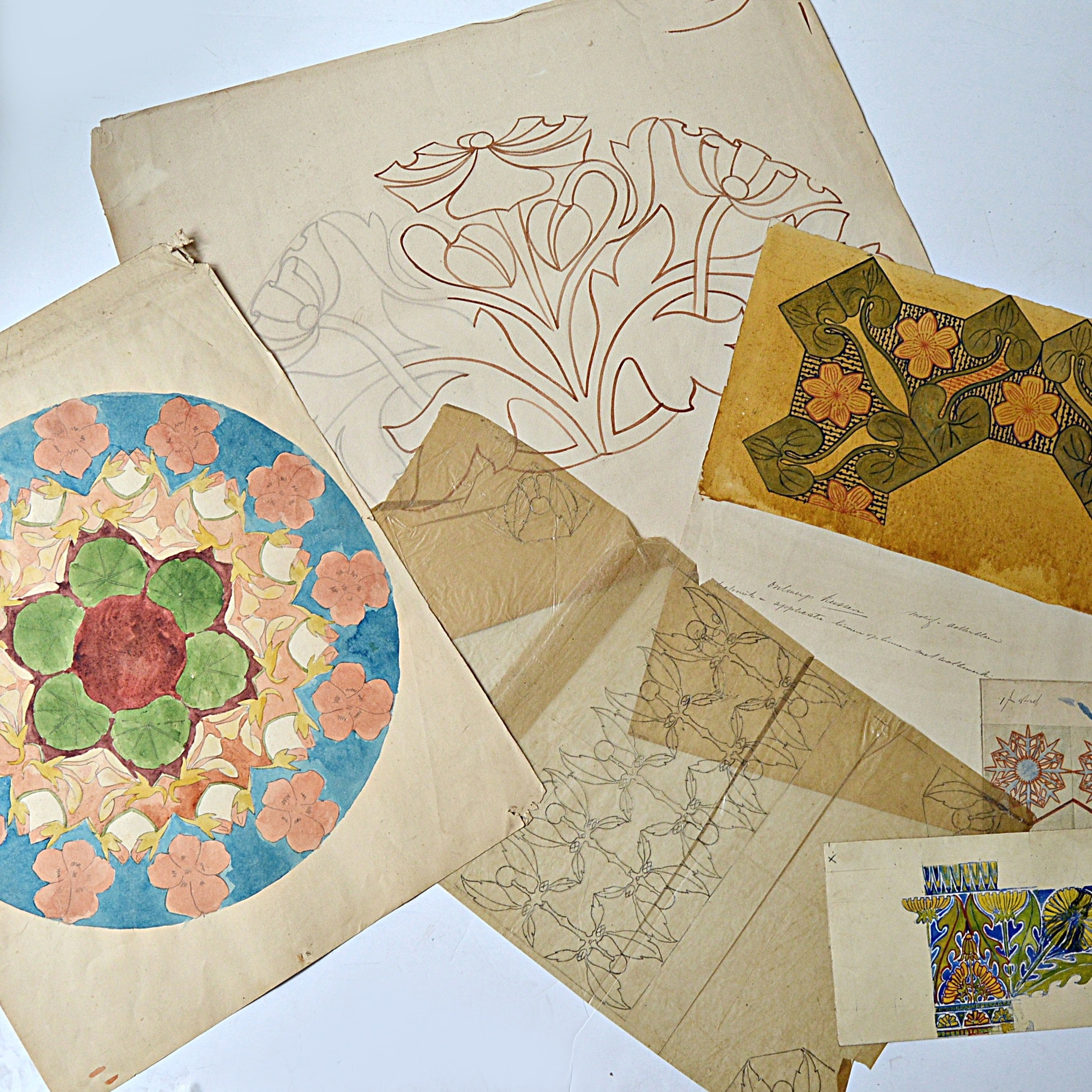 Dutch Arts and Crafts Watercolor and Ink on Paper Flower Studies