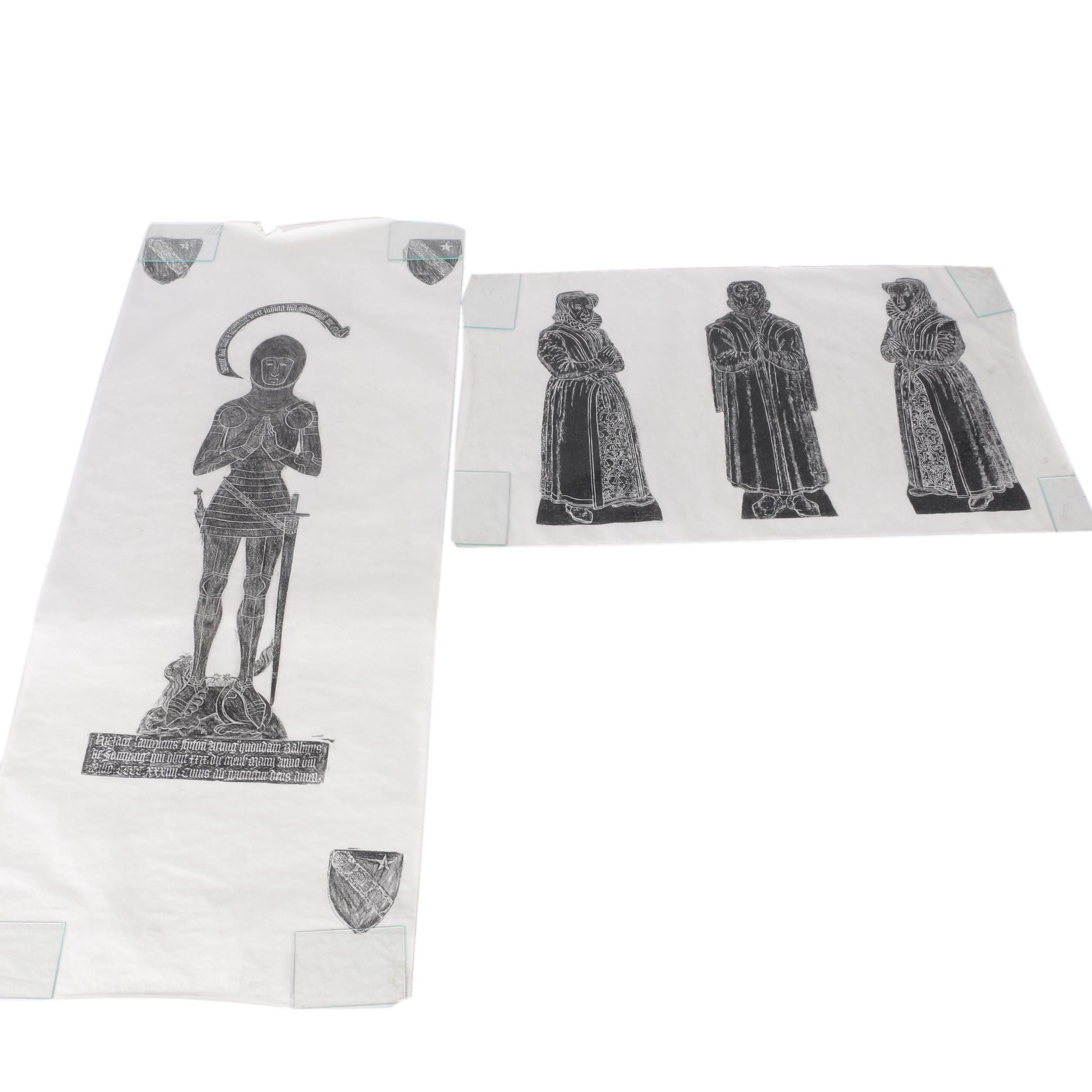 Two Charcoal Rubbings on Parchment Paper of Praying Figures