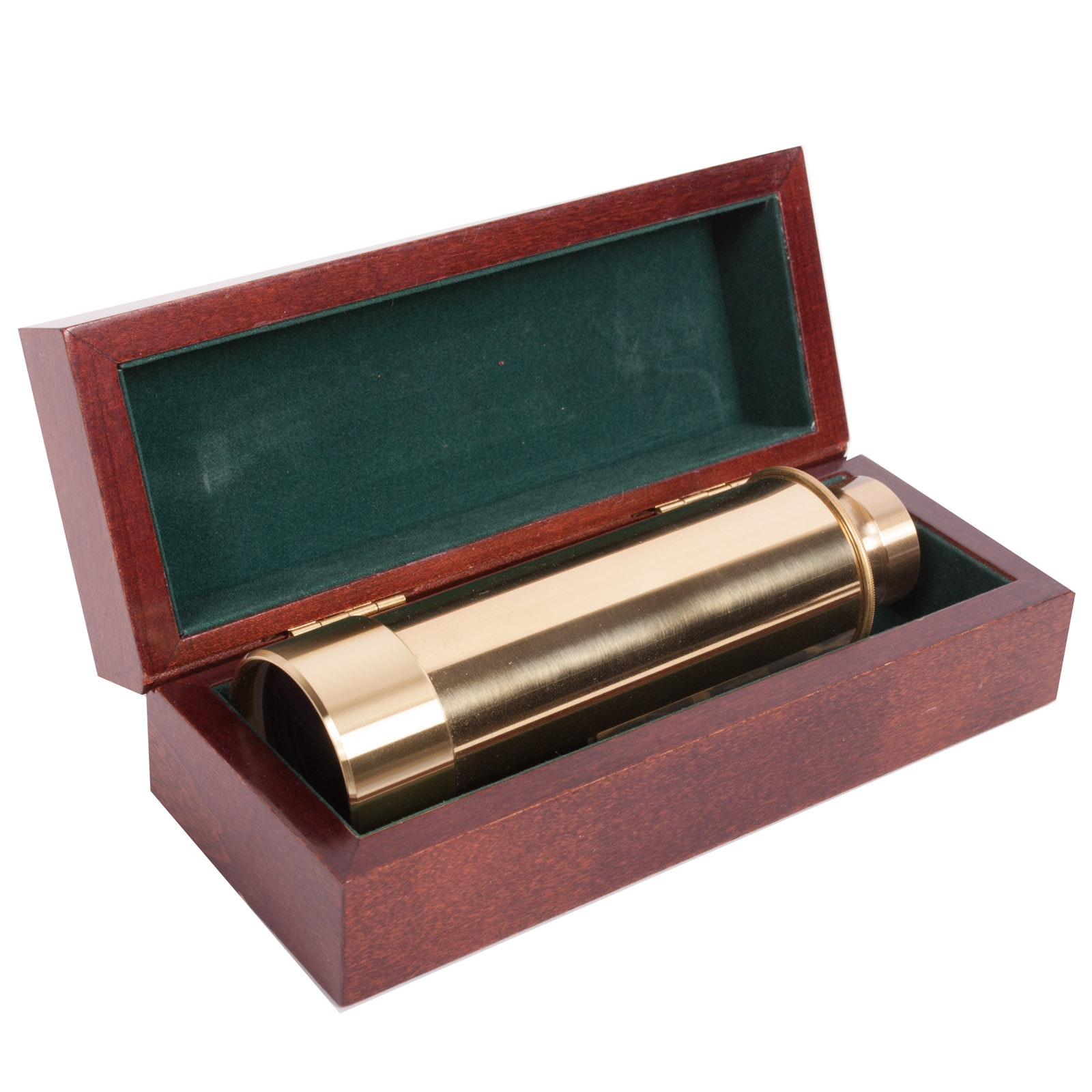 Authentic Models Brass Spyglass Telescope with Wooden Box