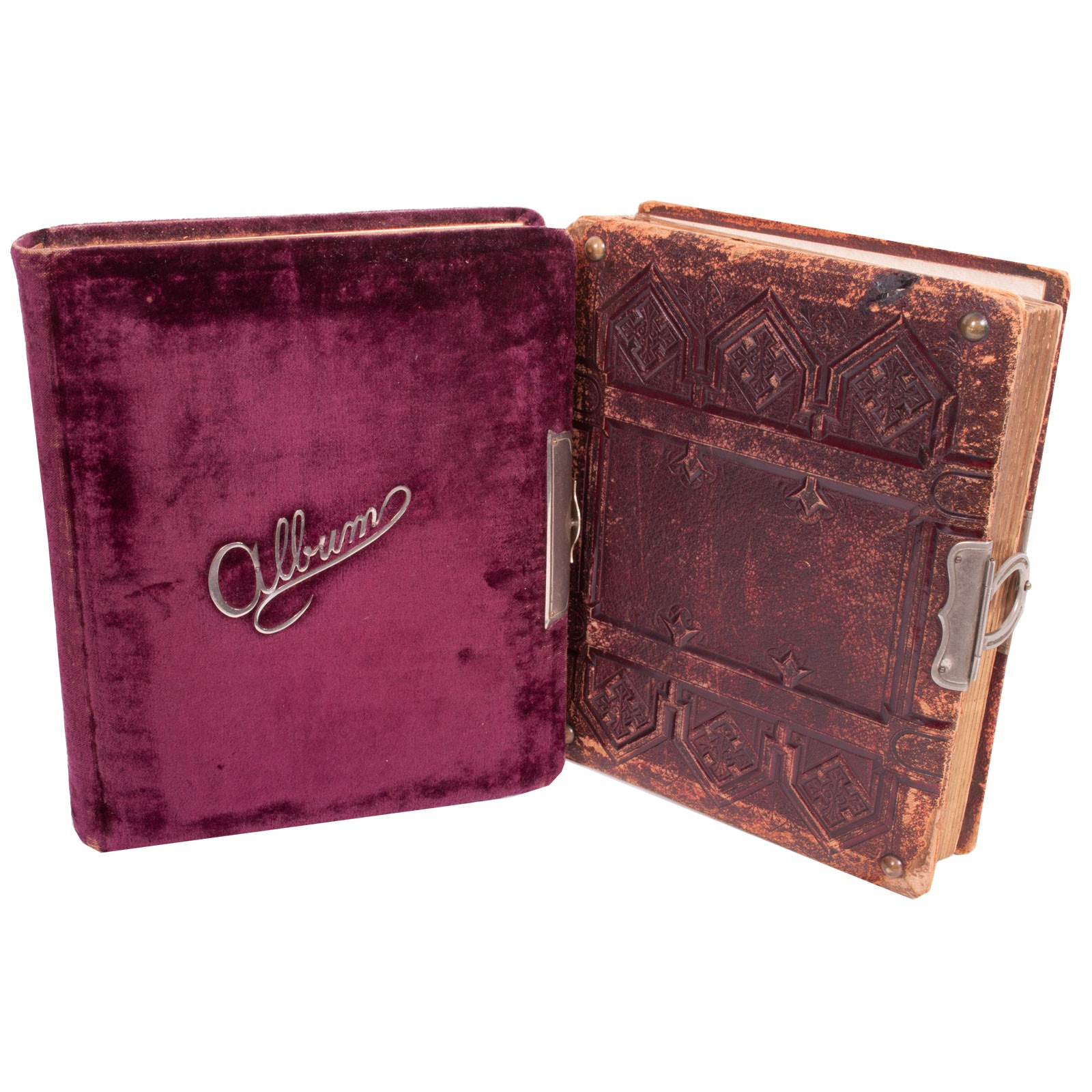 Antique Photo Albums with Small Assortment of Photographs