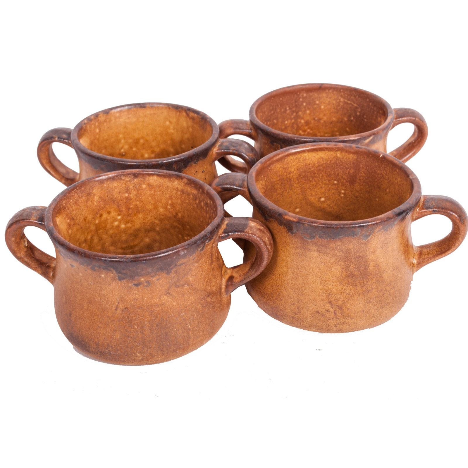 """Vintage McCoy Pottery Stoneware """"Mesa Canyon"""" Double-Handled Mugs"""