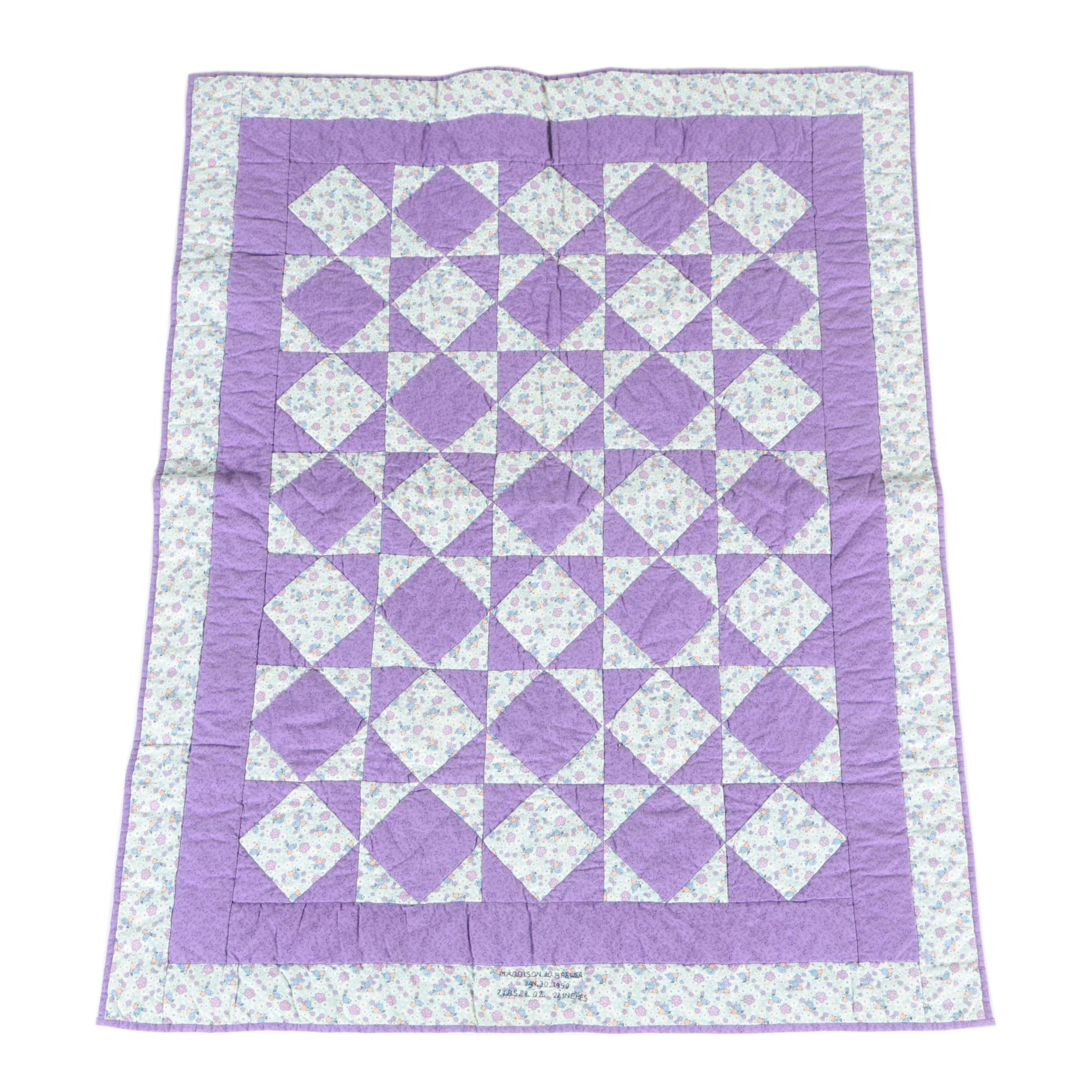 """Diamond in a Square"" Pattern Baby Quilt"