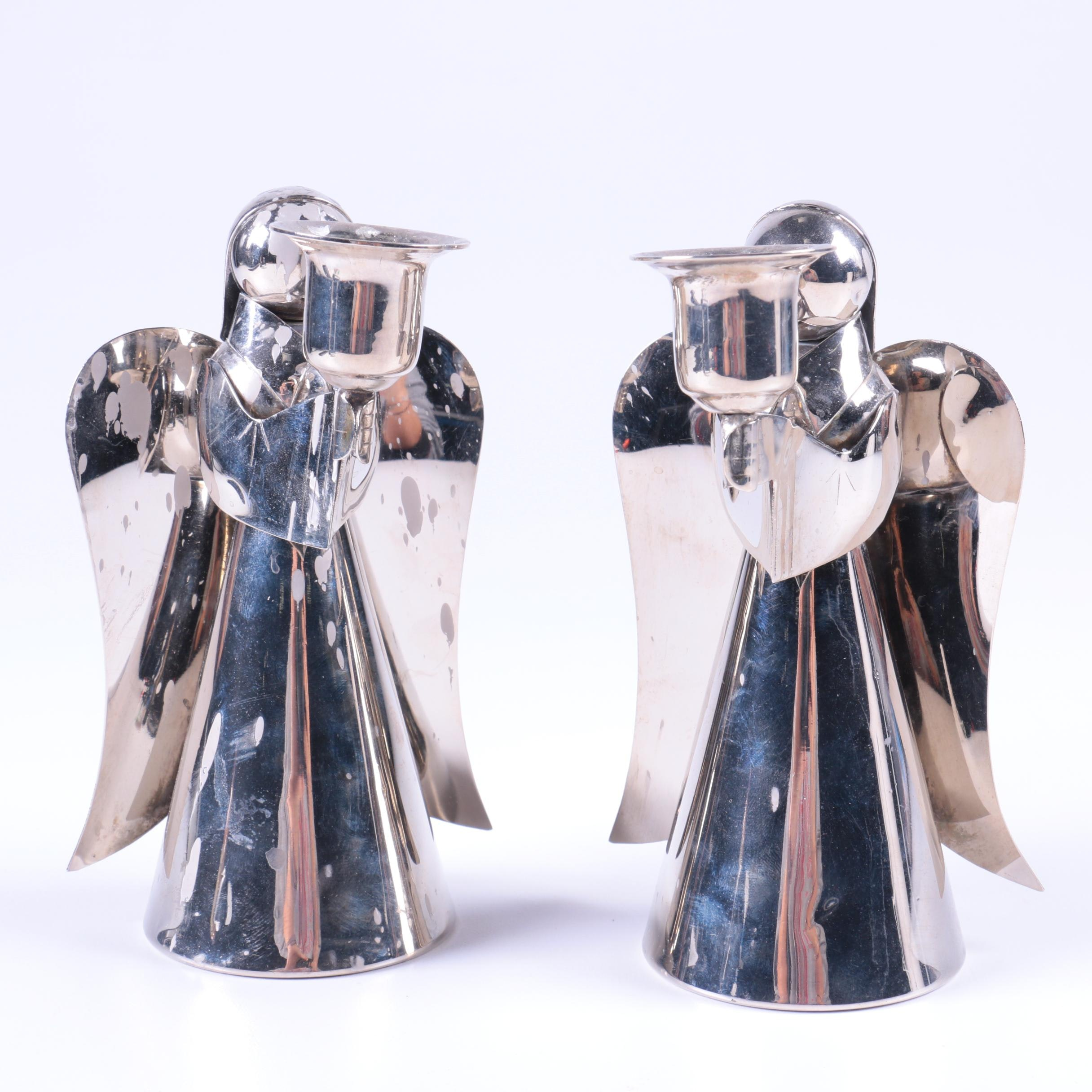 Silver Tone Angel Candlestick Holders