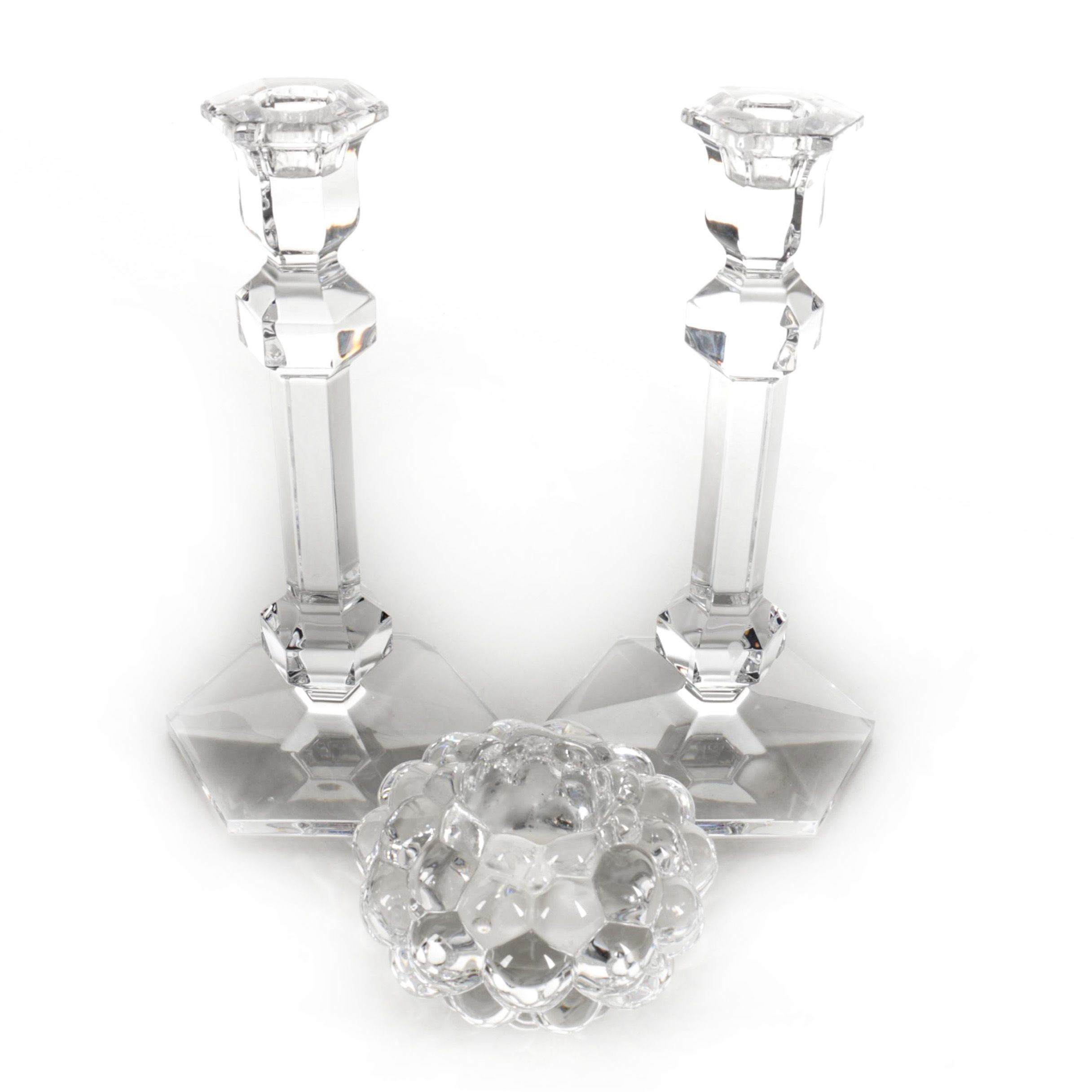 Val Saint Lambert and Orrefors Crystal Candlestick Holders
