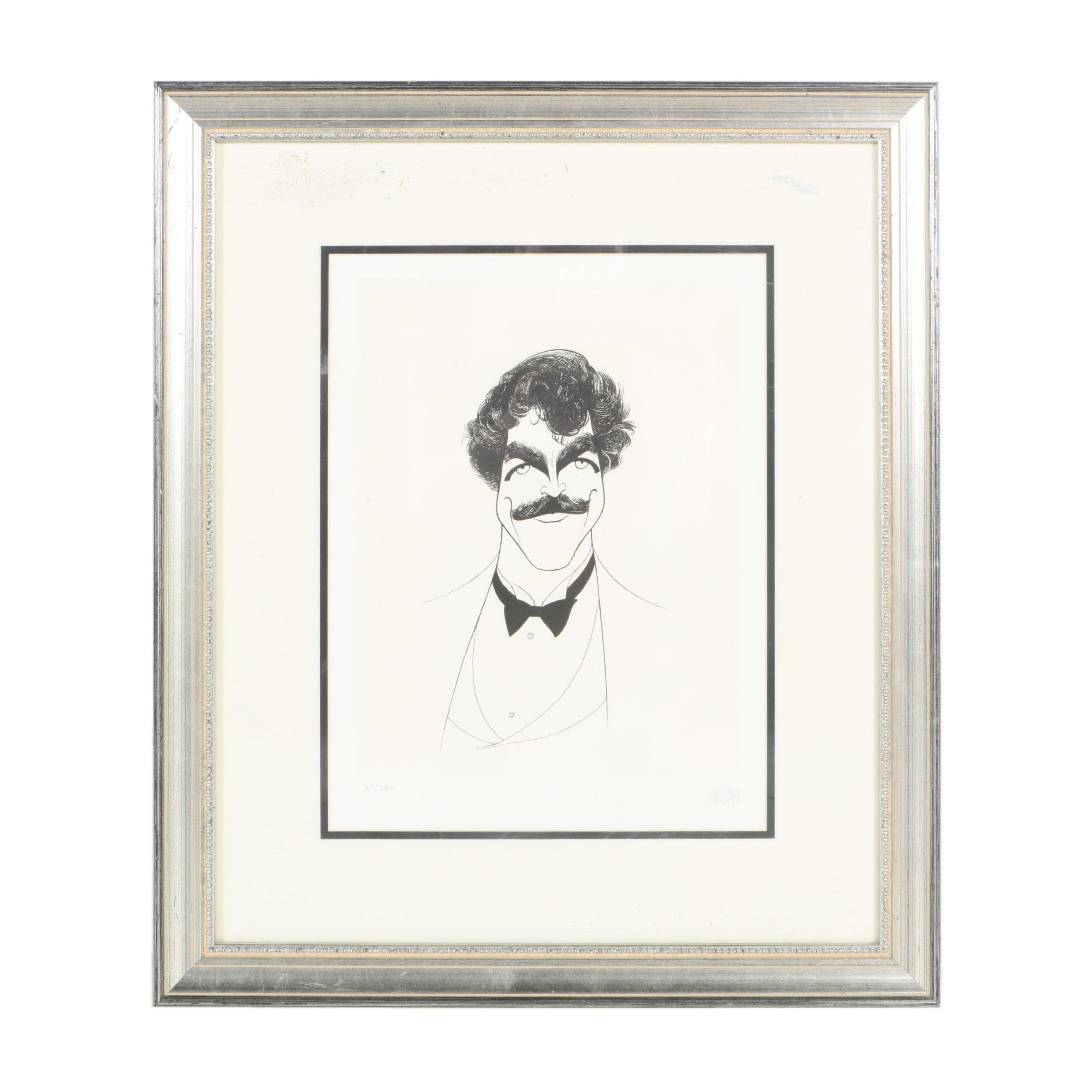 "Al Hirschfeld Limited Edition Etching ""Tom Selleck"""