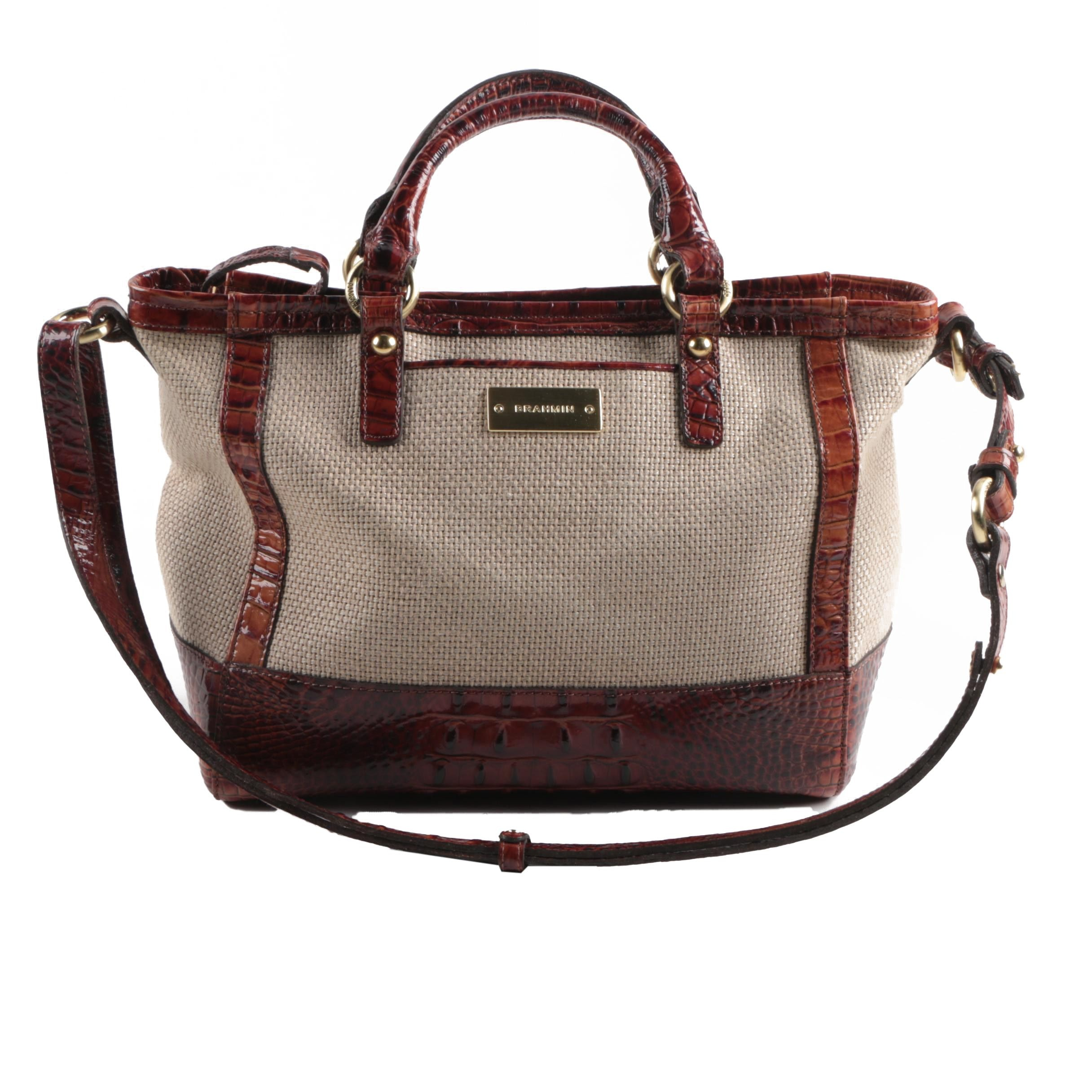 Brahmin Leather and Canvas Shoulder Bag