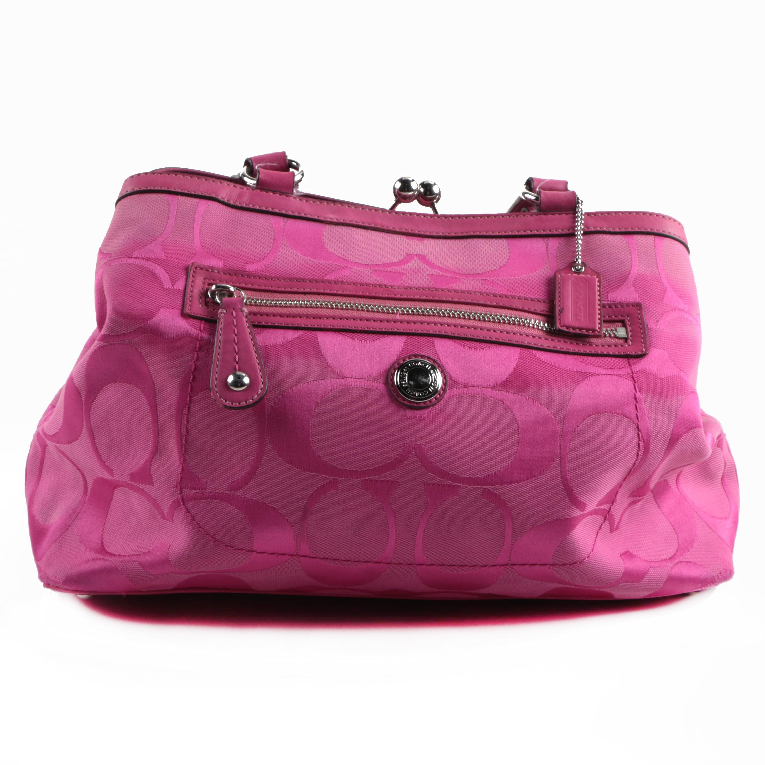 Coach Signature Laura Pink Canvas Carryall
