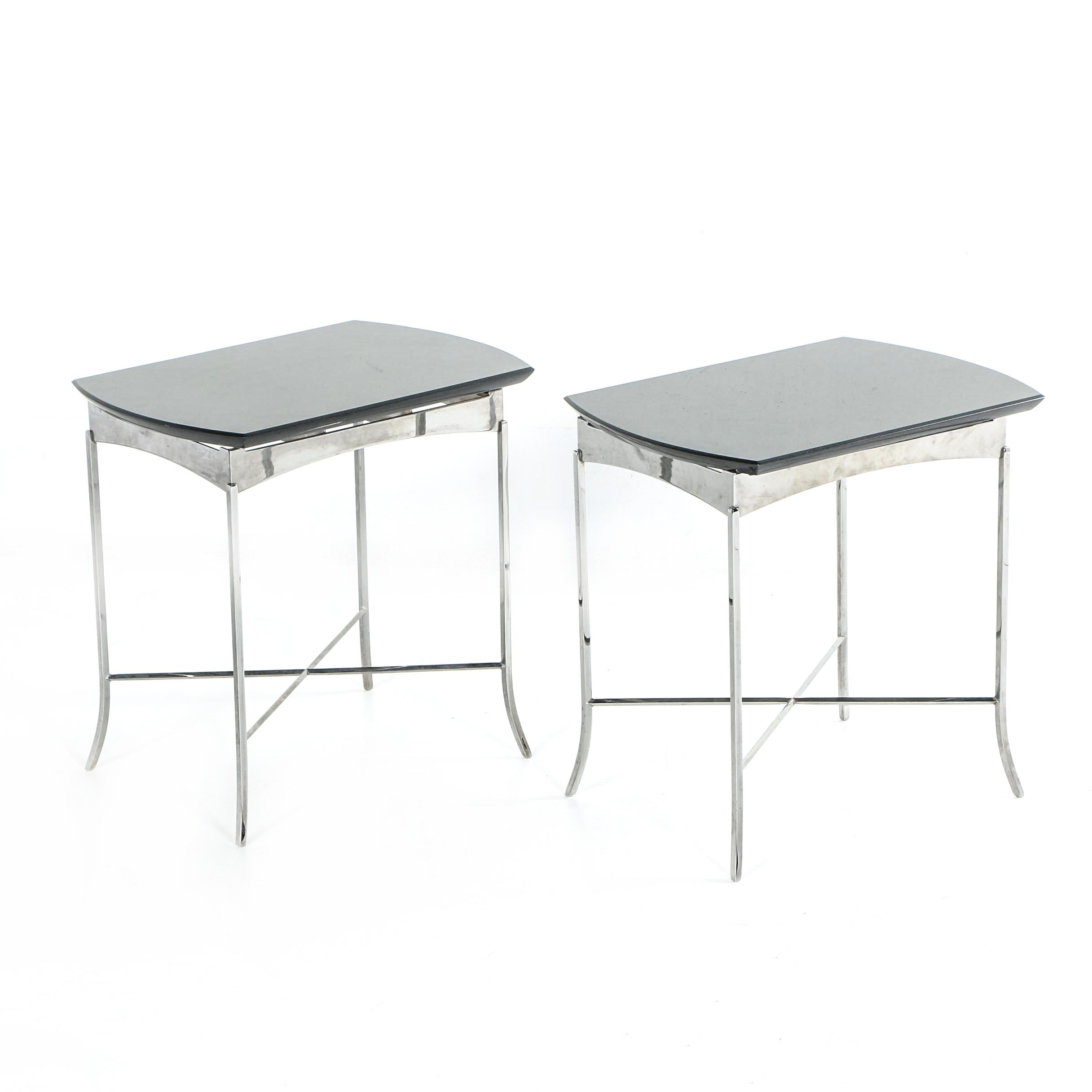 Two Granite Top Side Tables