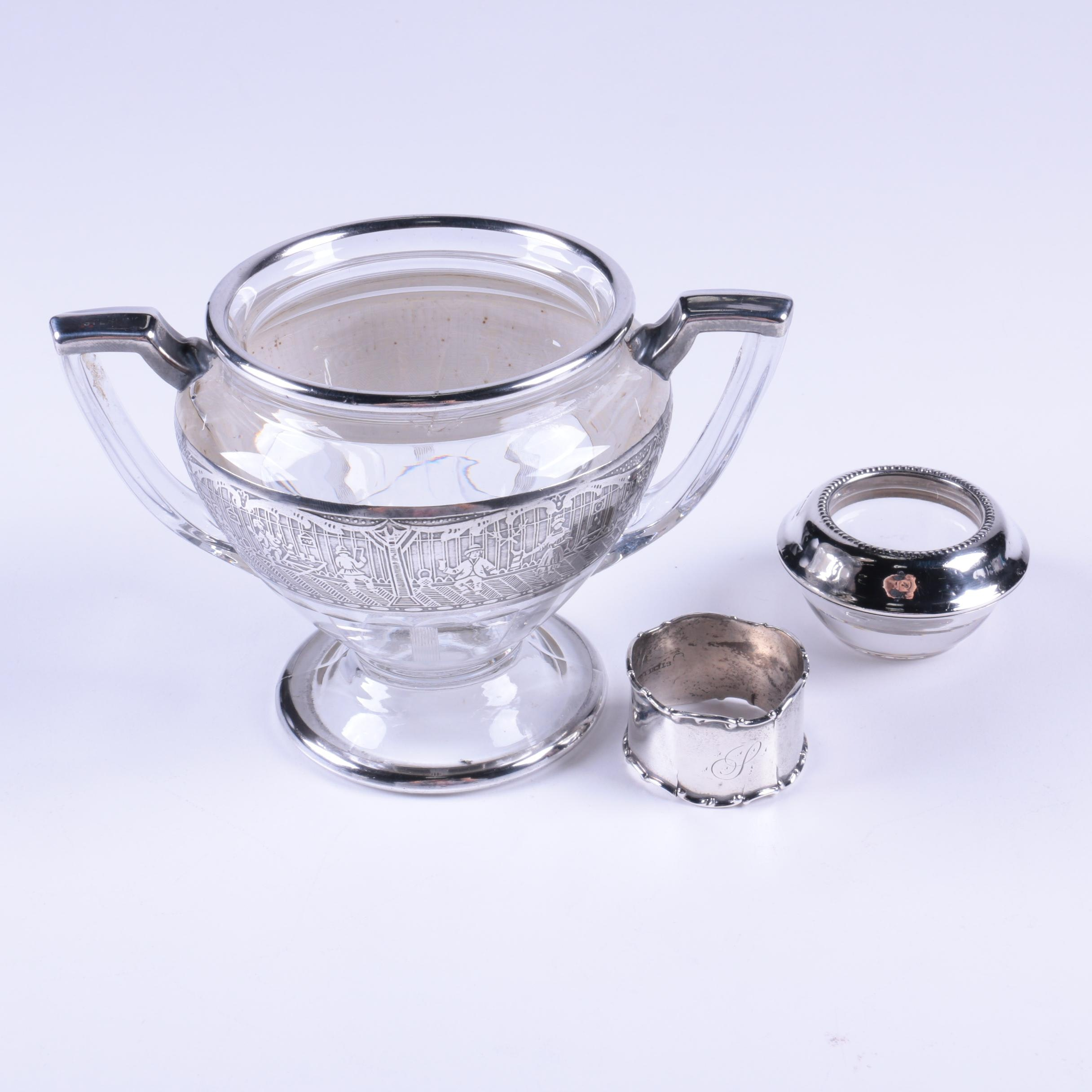 Frank M. Whiting Sterling Silver Candlestick Holder and Other Tableware